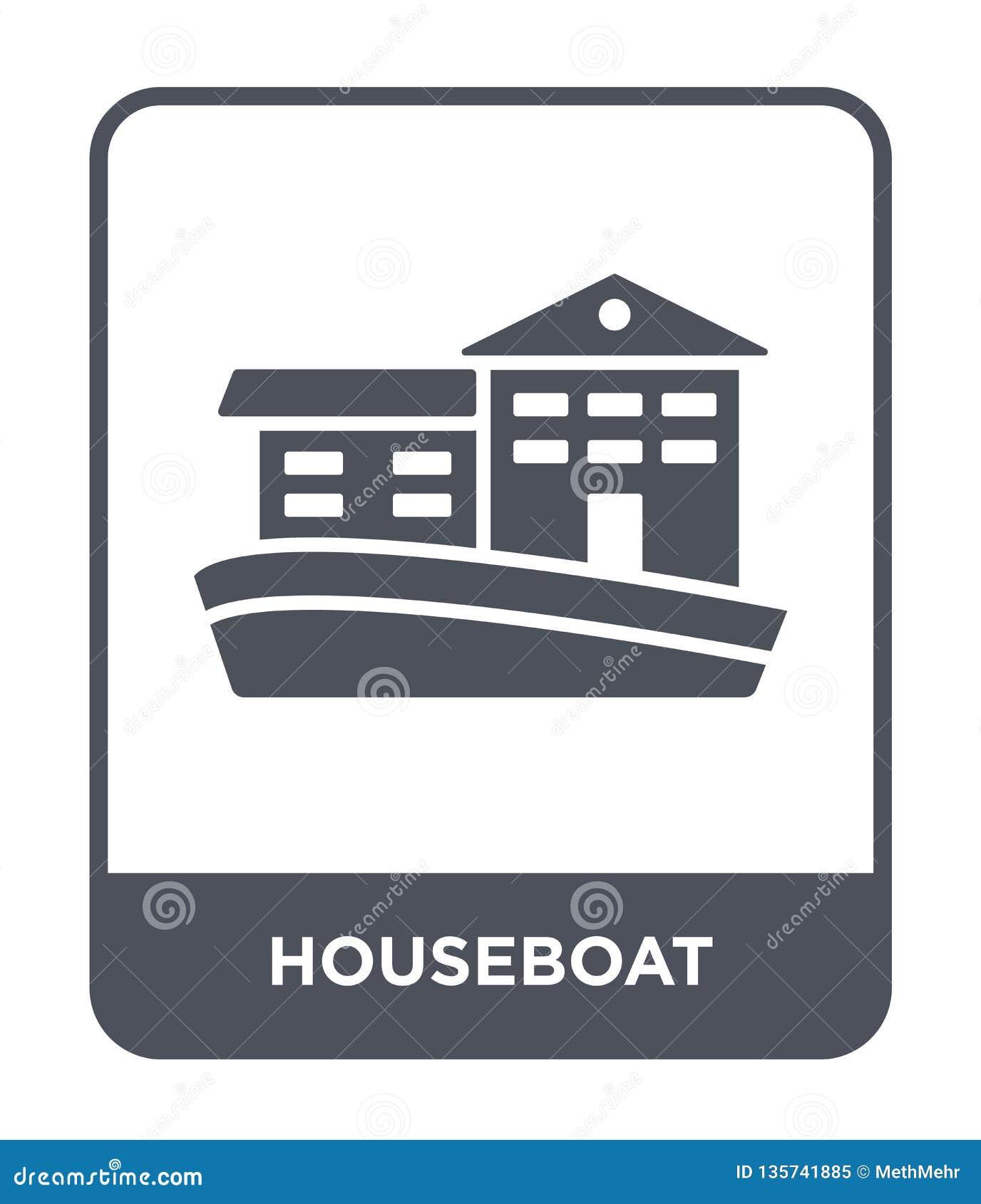 Icono de la casa flotante en estilo de moda del diseño icono de la casa flotante aislado en el fondo blanco plano simple y modern