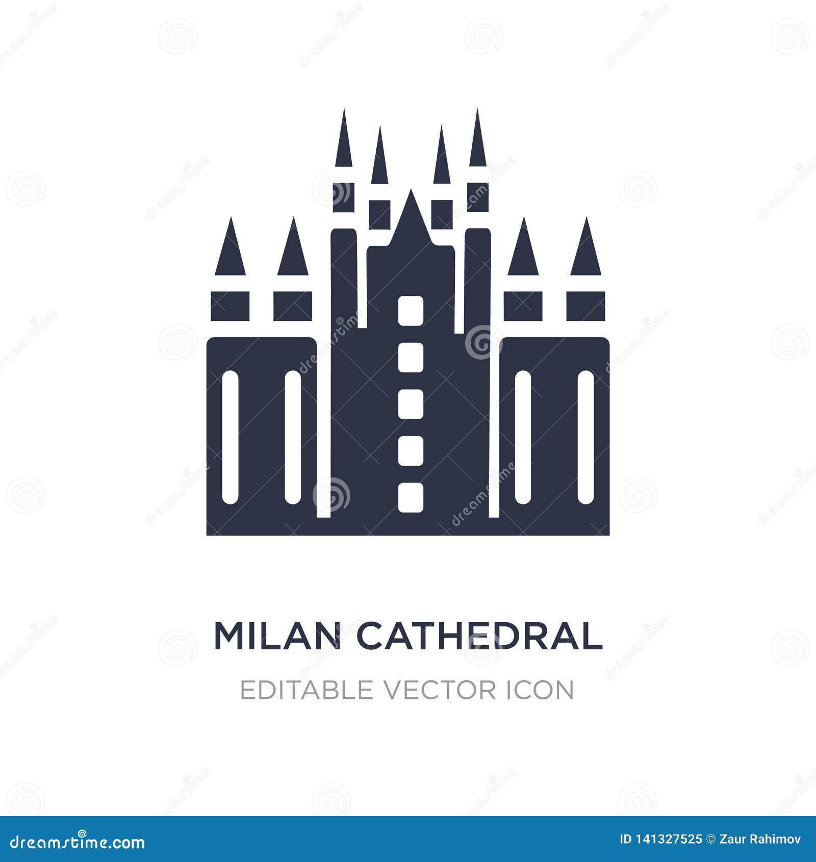 Icono de la catedral de Milano en el fondo blanco Ejemplo simple del elemento del concepto de los monumentos