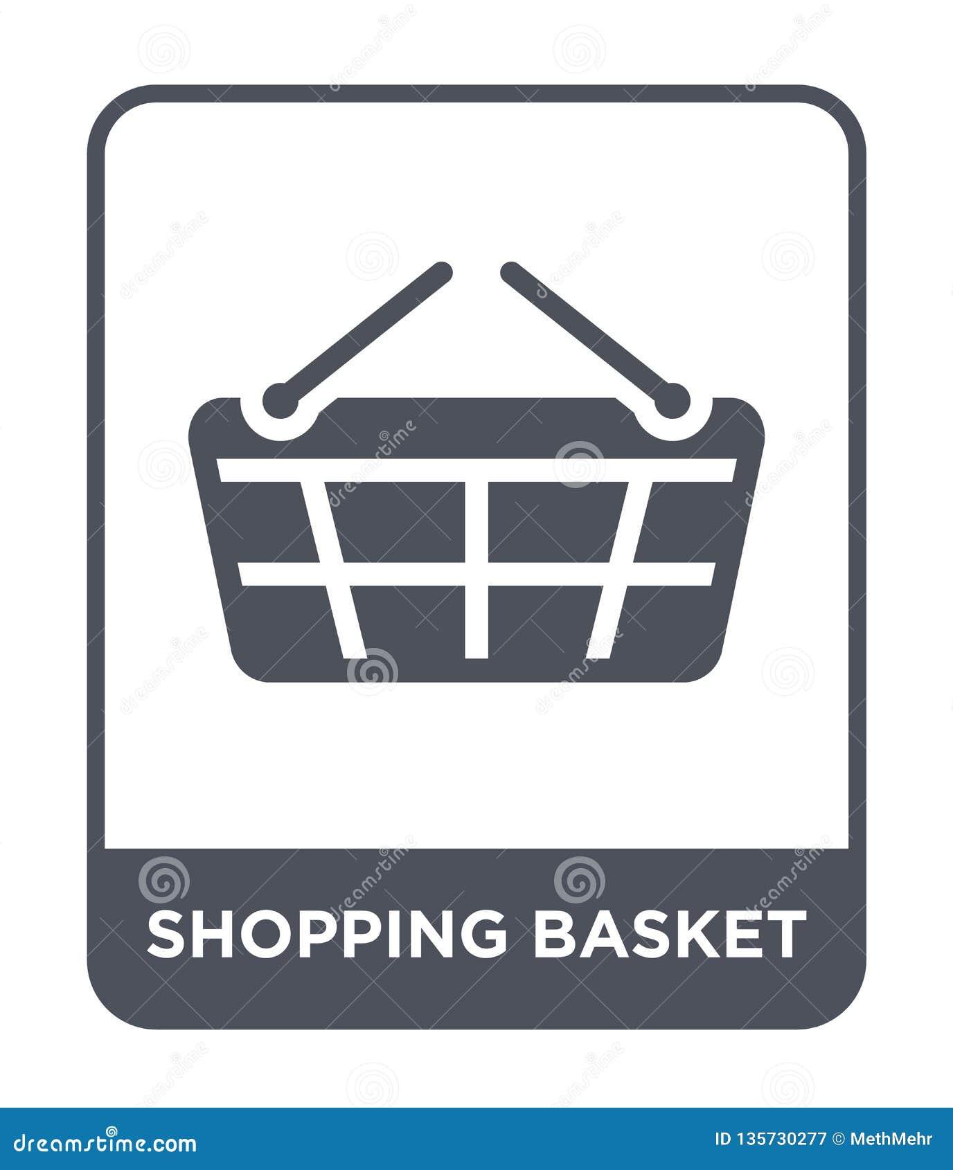 Icono de la cesta de compras en estilo de moda del diseño Icono de la cesta de compras aislado en el fondo blanco icono del vecto