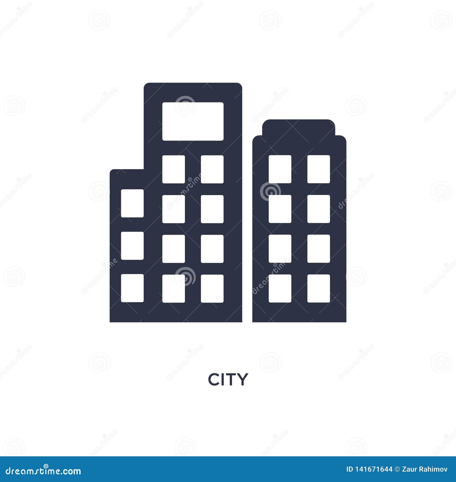 Icono de la ciudad en el fondo blanco Ejemplo simple del elemento del concepto de los éticas
