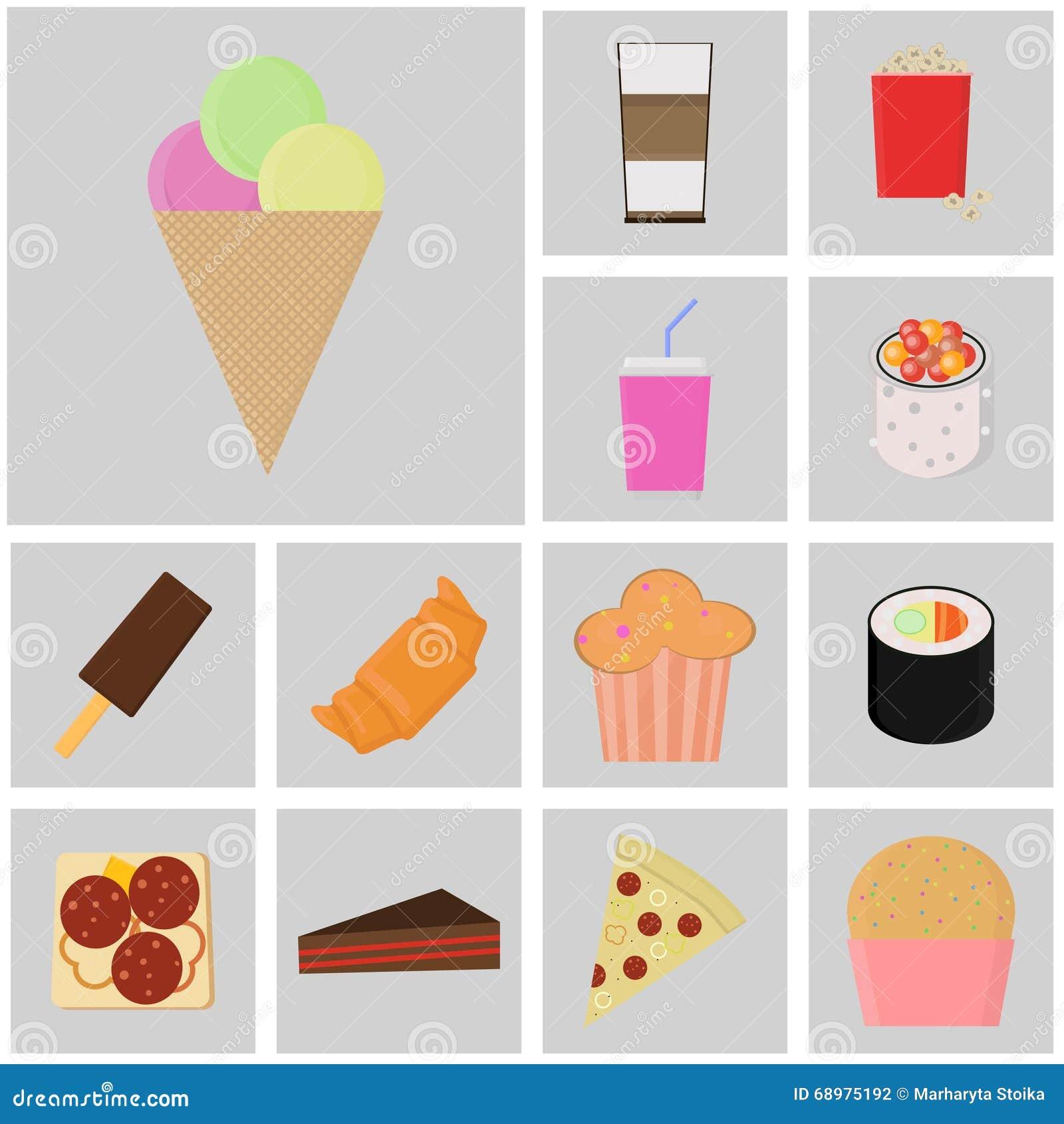 Icono de la comida y de la bebida Vector de los alimentos de preparación rápida Iconos planos del color bolas del icono del helad