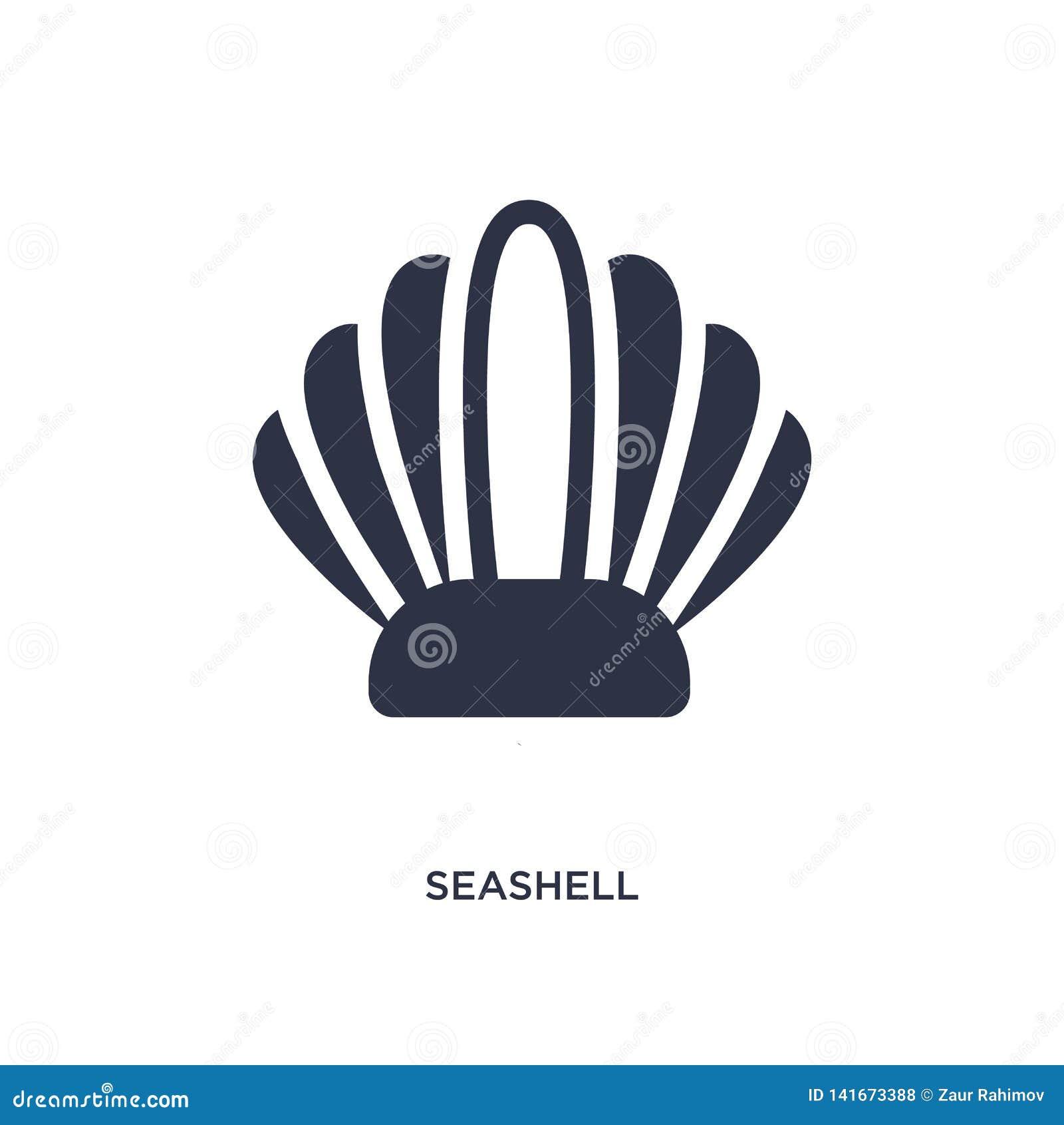 Icono de la concha marina en el fondo blanco Ejemplo simple del elemento del concepto del verano