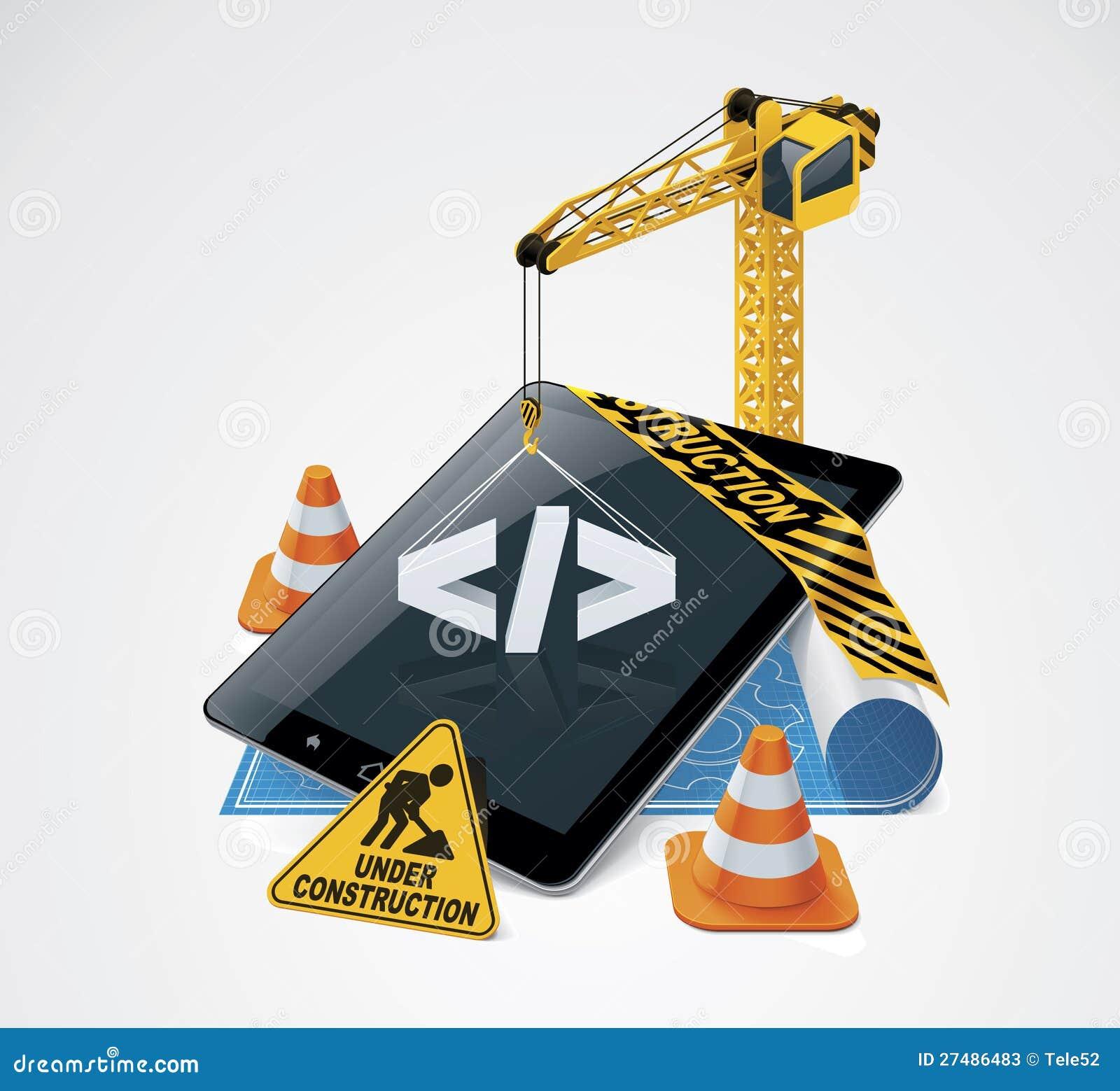 Icono de la construcción del Web site del vector