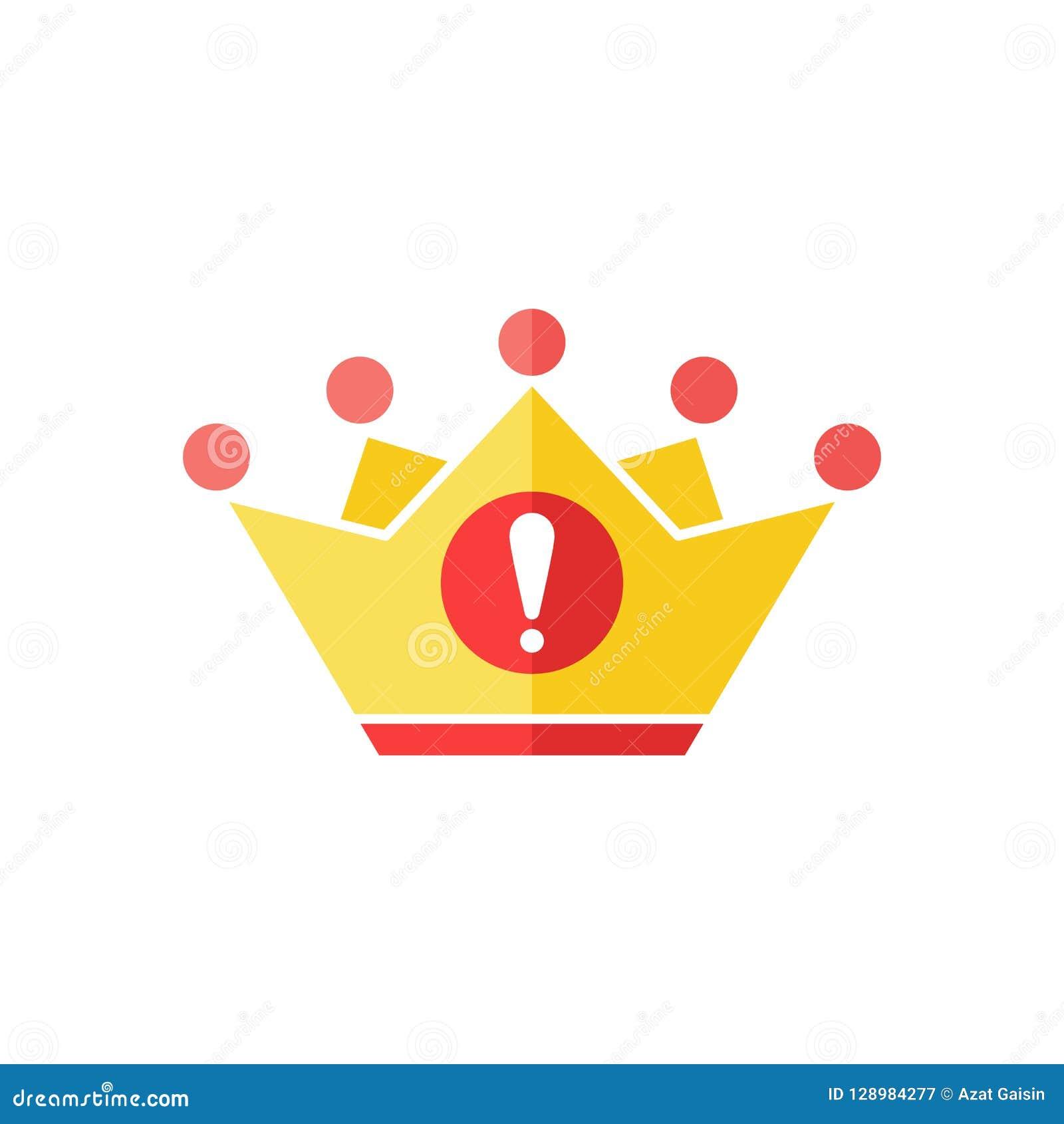 Icono de la corona con la marca de exclamación Icono y alarma, error, alarma, símbolo de la autoridad del peligro