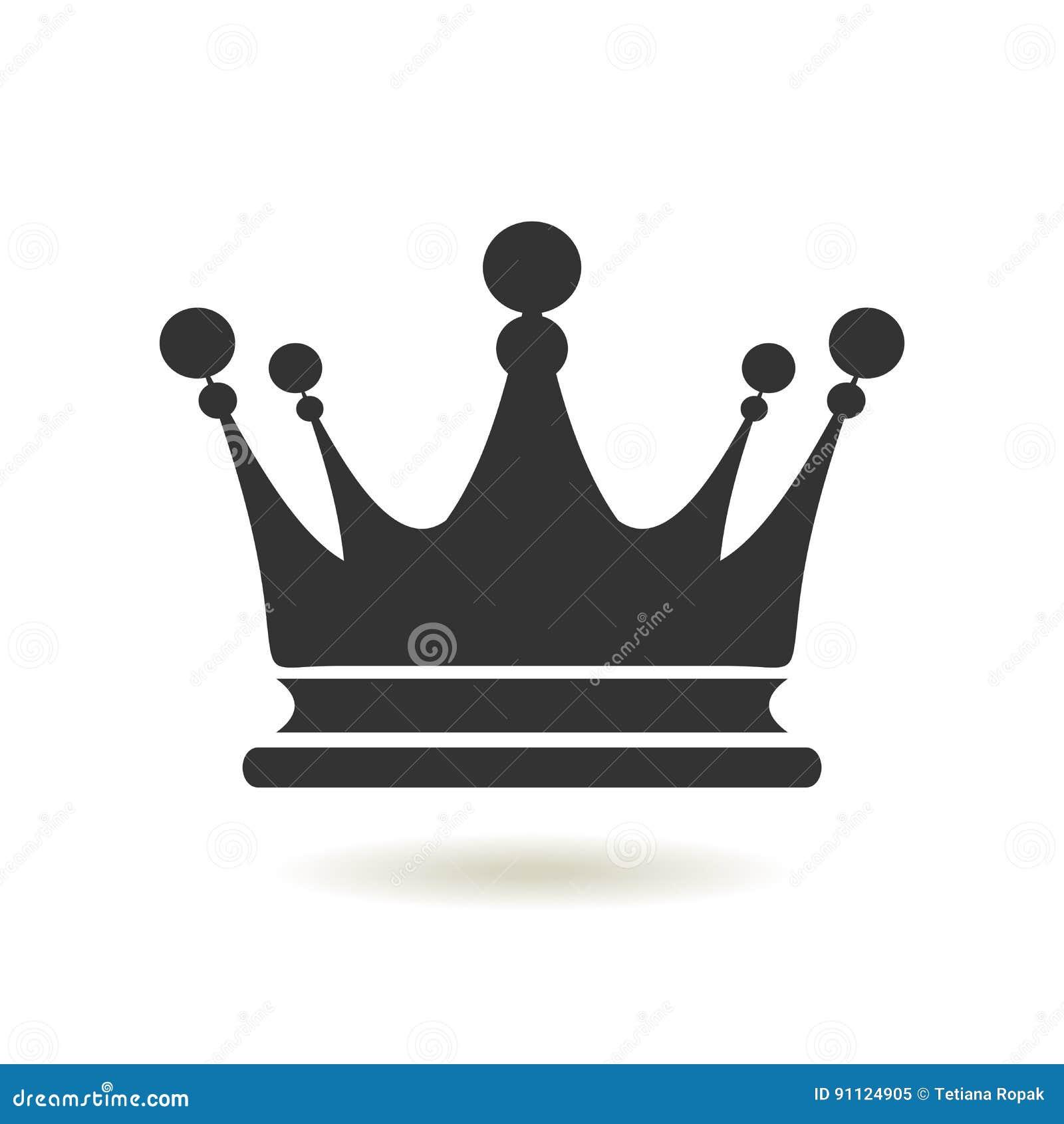 Icono de la corona en estilo plano de moda Autoridad de la monarquía y símbolos reales Iconos monocromáticos de la antigüedad del
