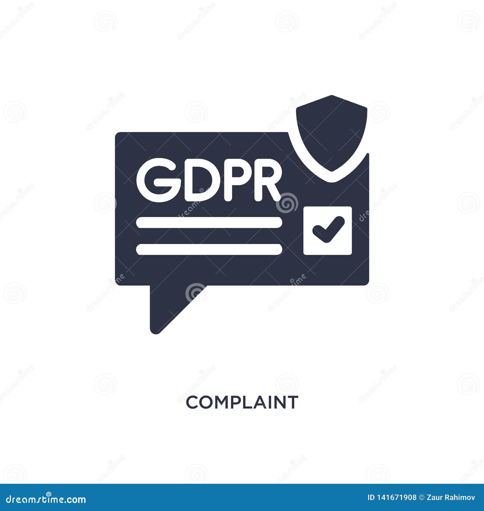 Icono de la denuncia en el fondo blanco Ejemplo simple del elemento del concepto del gdpr