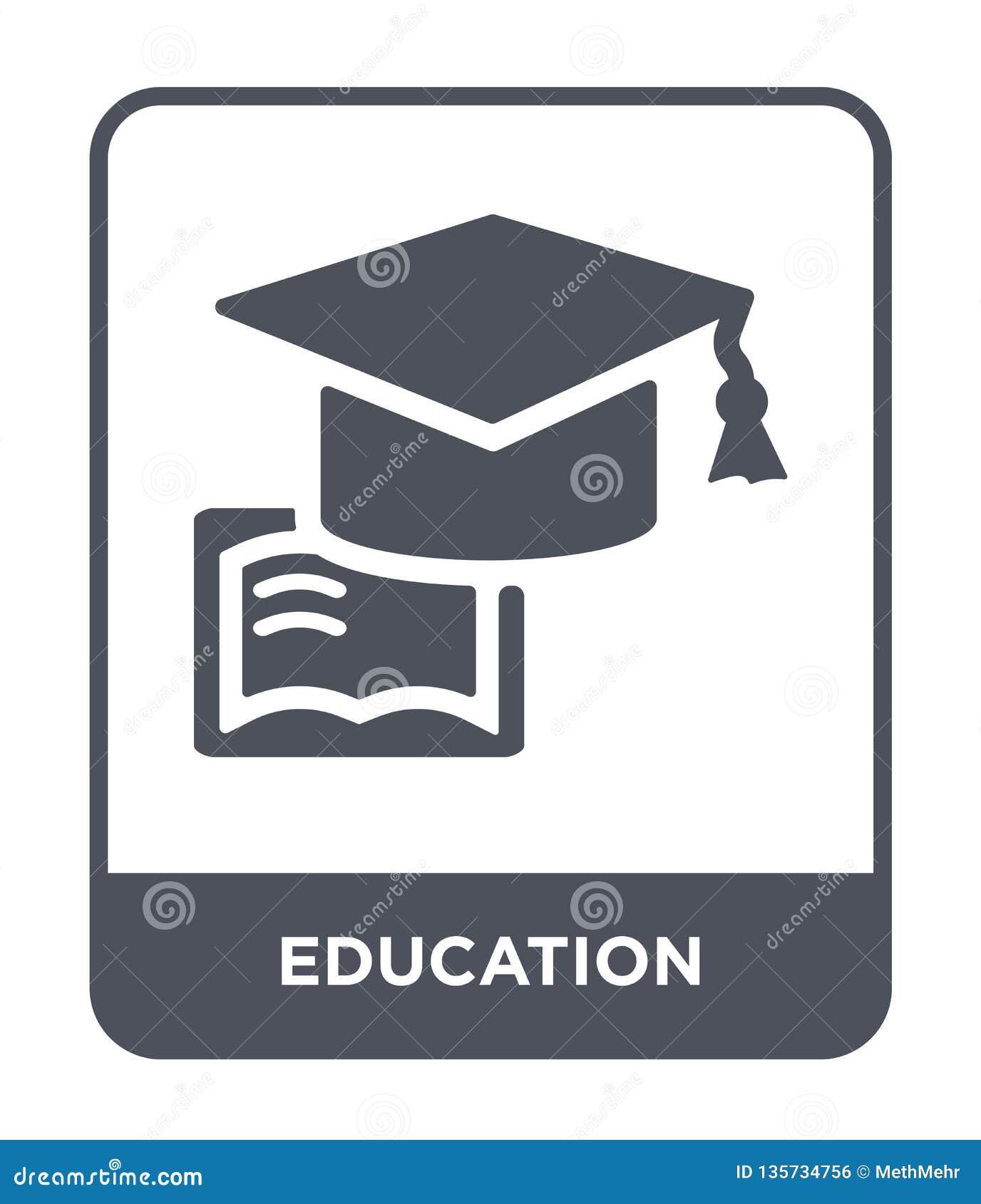 Icono de la educación en estilo de moda del diseño Icono de la educación aislado en el fondo blanco plano simple y moderno del ic
