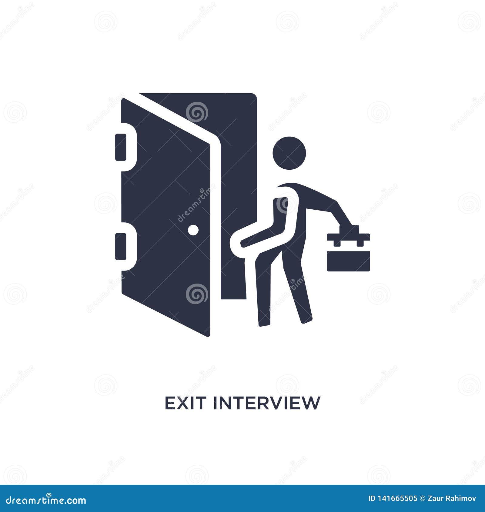 Icono de la entrevista de salida en el fondo blanco Ejemplo simple del elemento del concepto de los recursos humanos