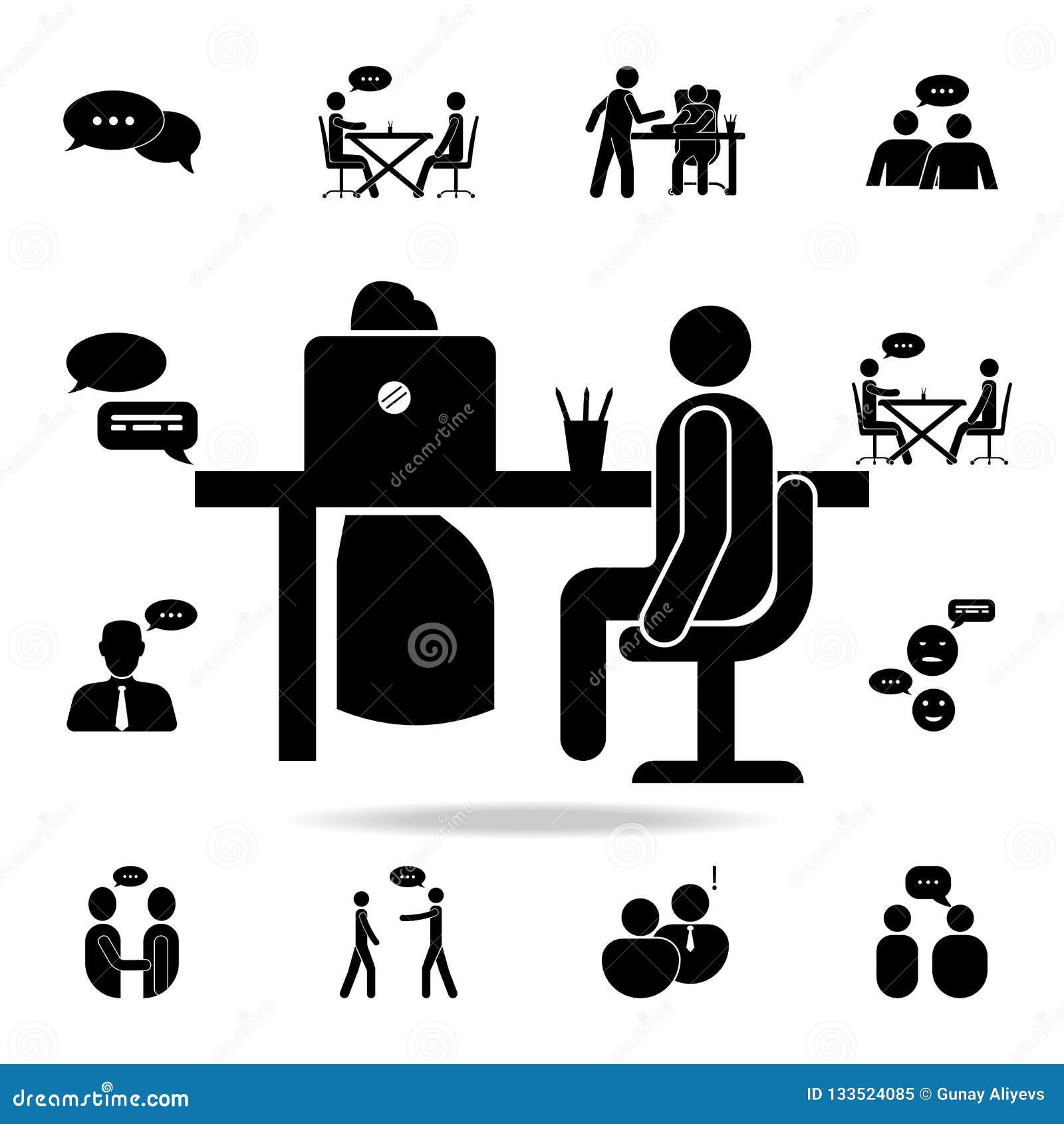Icono de la entrevista de trabajo Sistema detallado de iconos de la conversación Diseño gráfico superior Uno de los iconos de la