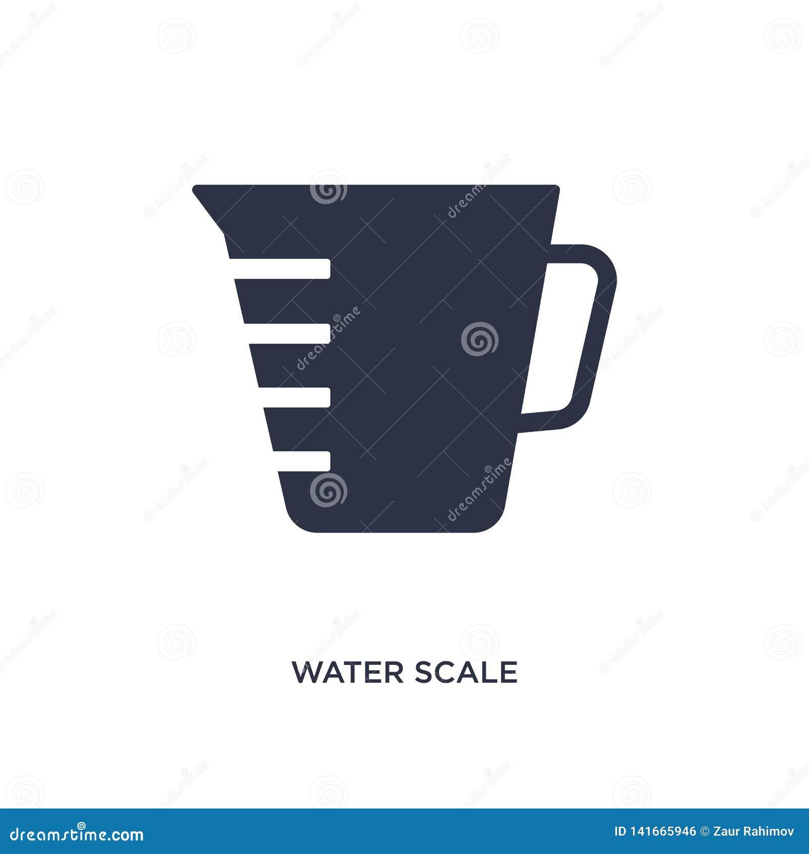 Icono de la escala del agua en el fondo blanco Ejemplo simple del elemento del concepto de la medida