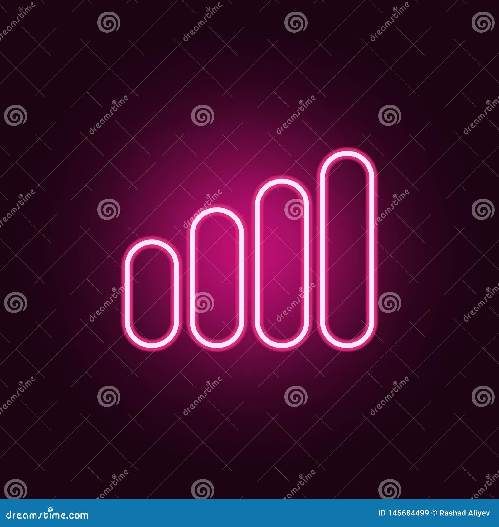 Icono de la escala de la se?al Elementos de la web en los iconos de ne?n del estilo Icono simple para las p?ginas web, dise?o web