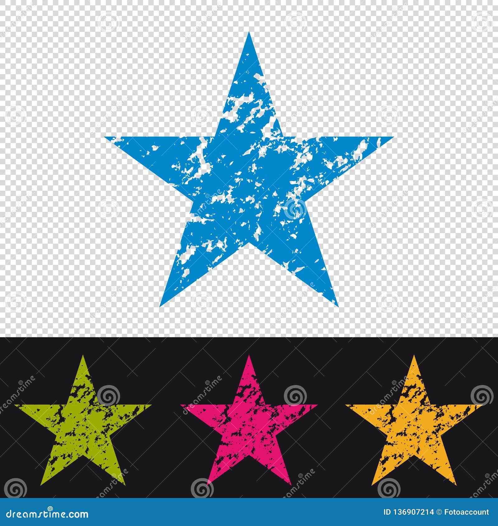 Icono de la estrella - sello del sello de goma - ejemplo colorido del vector - aislado en fondo transparente y negro