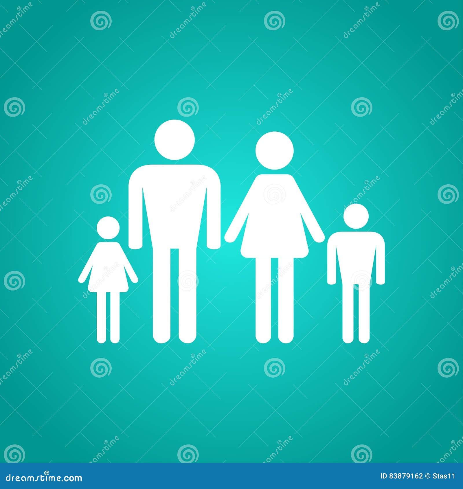 Icono de la familia en blanco cuatro personas ilustraci n for Hotel para cuatro personas