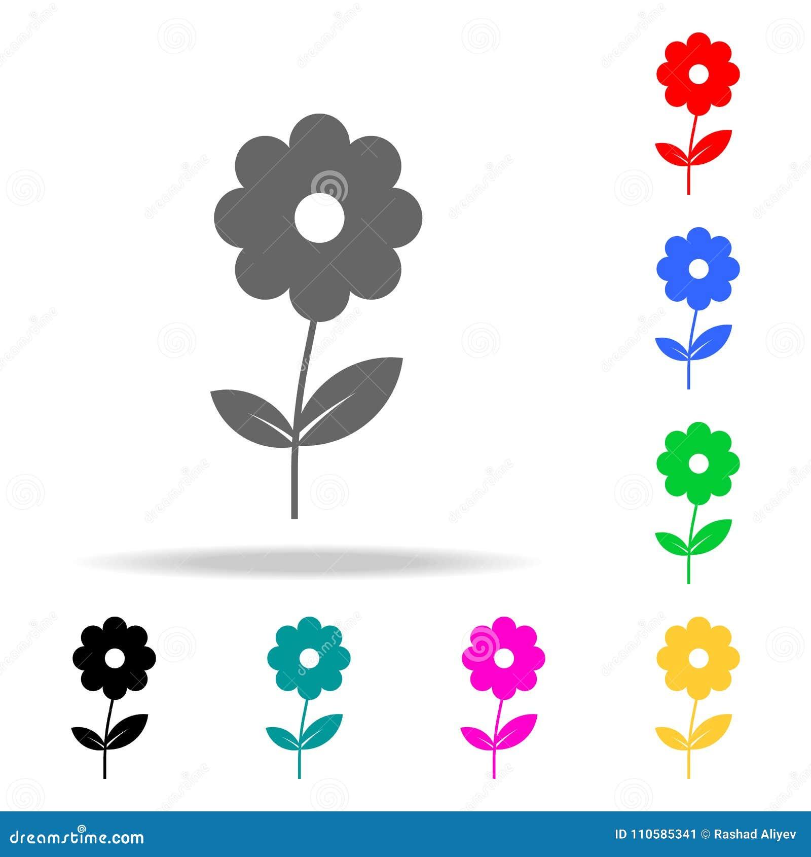 Icono de la flor Elementos en los iconos coloreados multi para los apps móviles del concepto y del web Iconos para el diseño y el