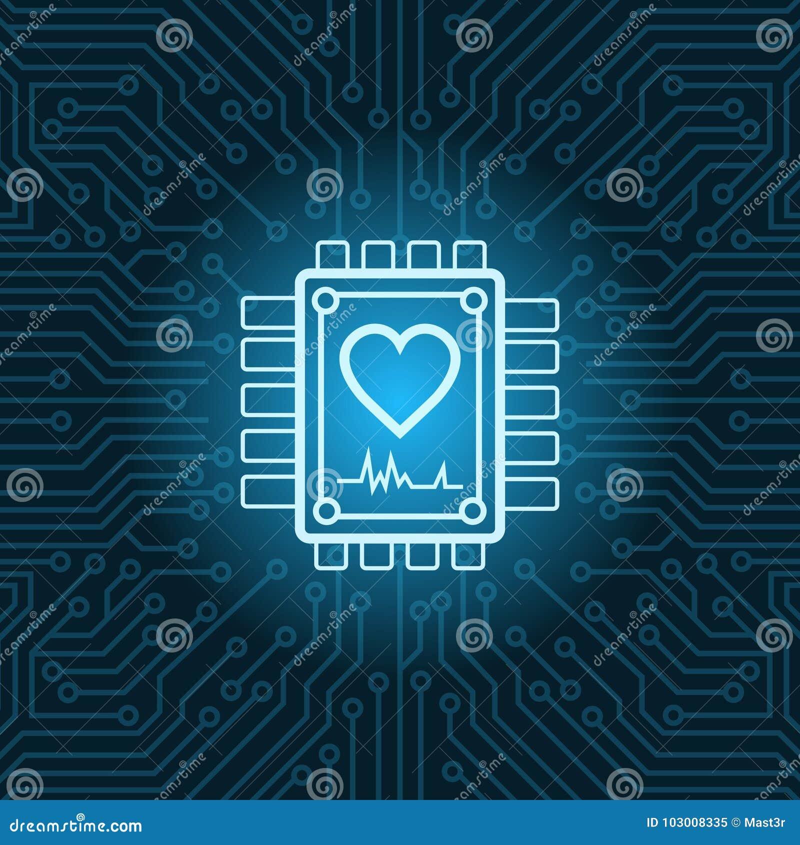 Icono de la forma del corazón en el fondo de Chip Over Blue Circuit Motherboard