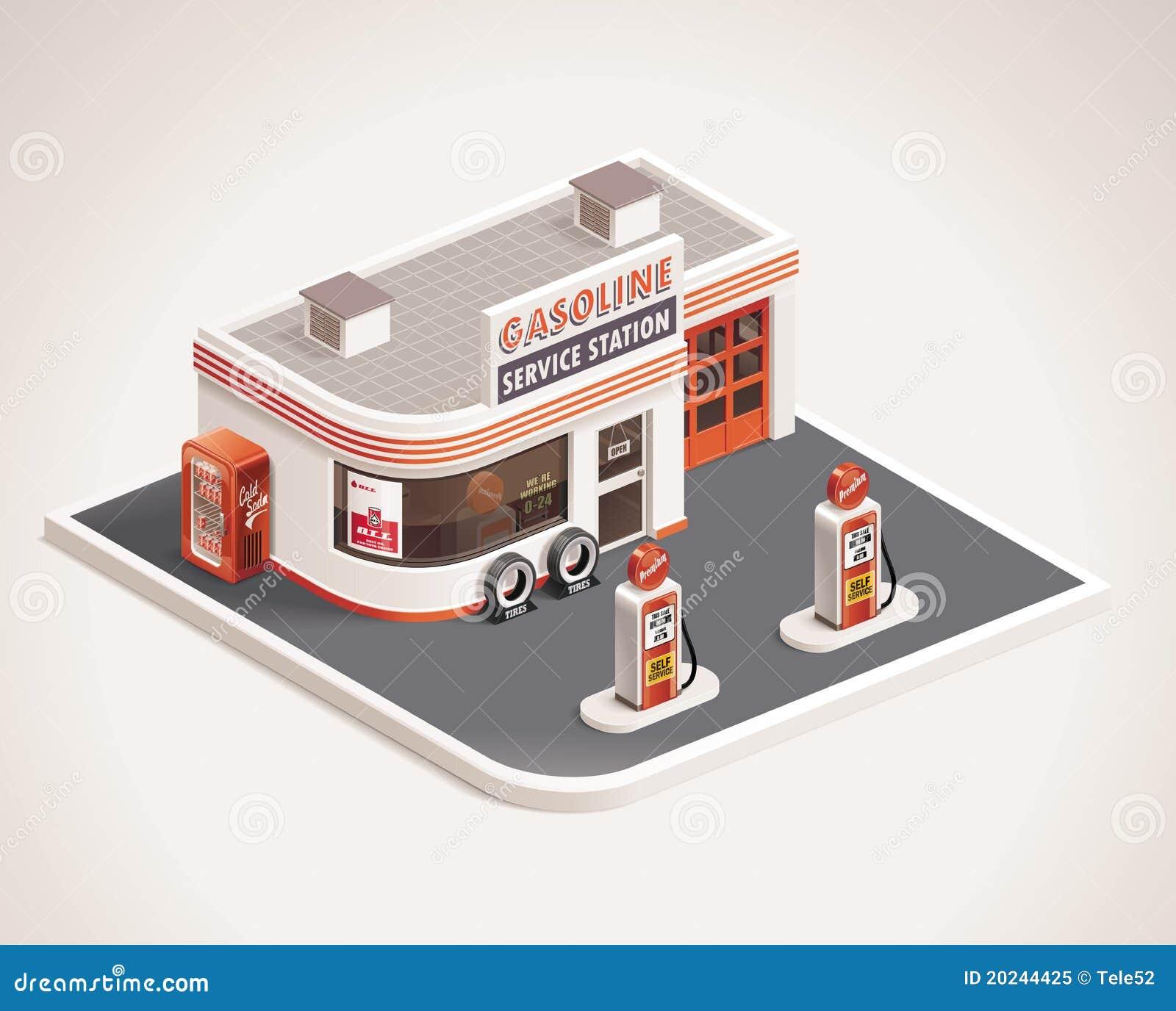 Icono de la gasolinera del borde de la carretera del vector XXL