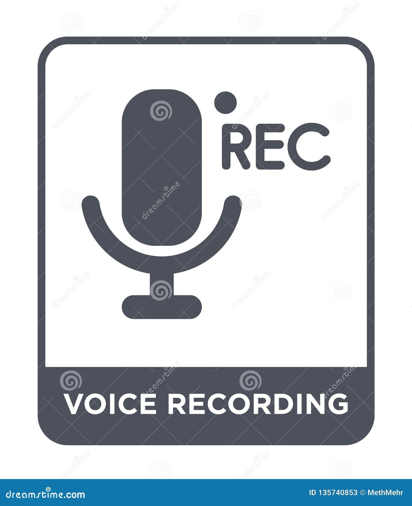Icono de la grabación de la voz en estilo de moda del diseño Icono de la grabación de la voz aislado en el fondo blanco icono del