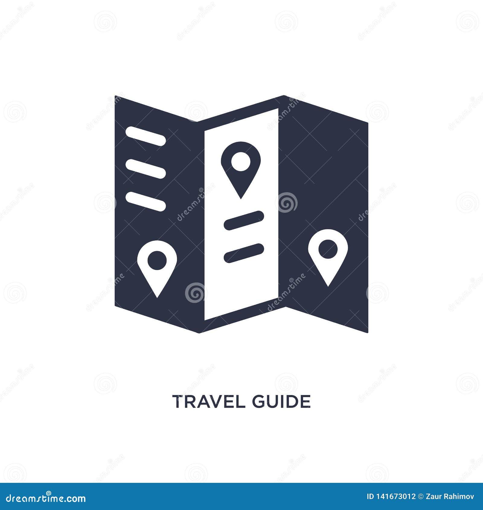 Icono de la guía del viaje en el fondo blanco Ejemplo simple del elemento del concepto del verano