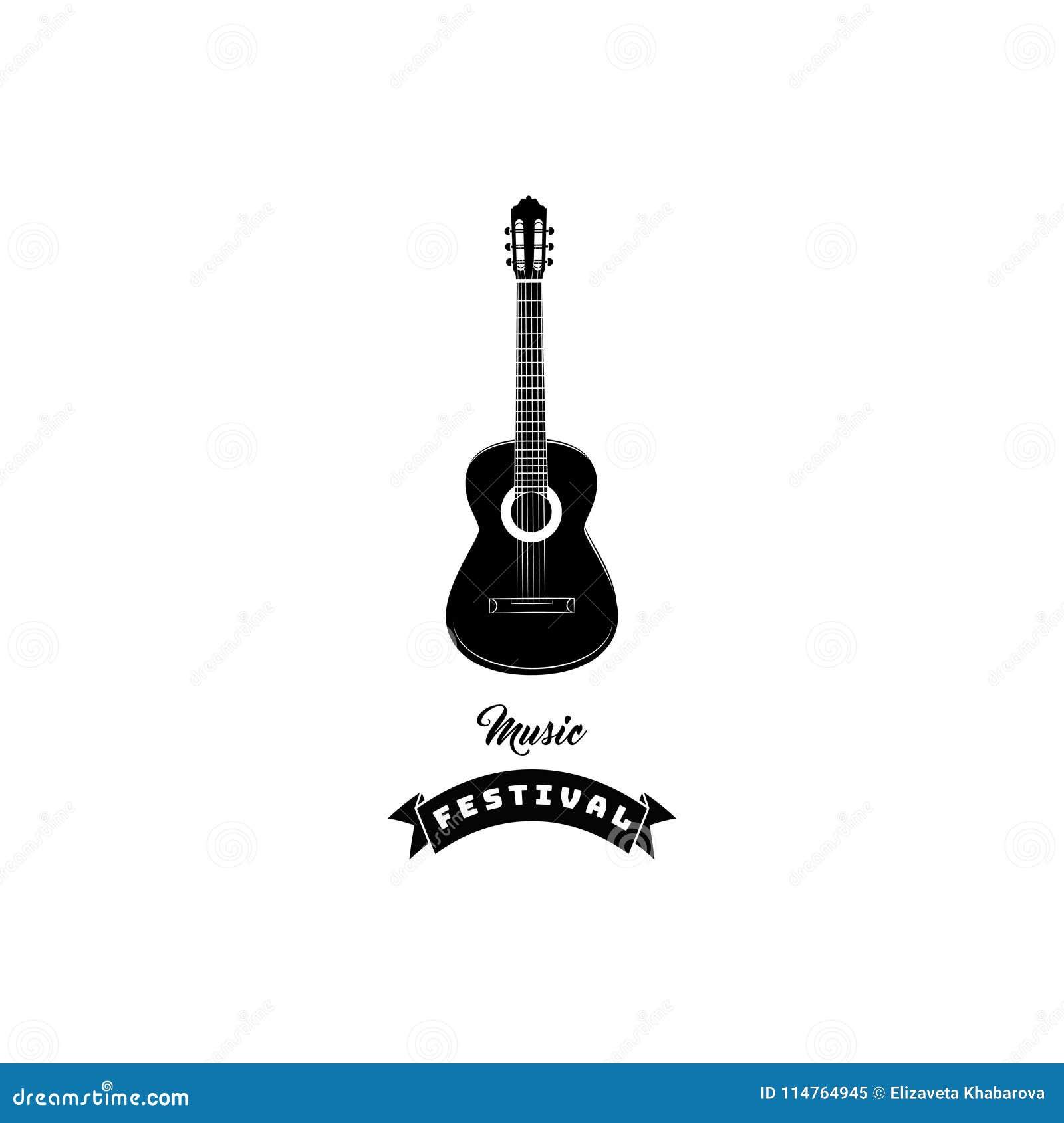 Icono de la guitarra Etiqueta del emblema del logotipo del festival de música Instrumento musical Vector