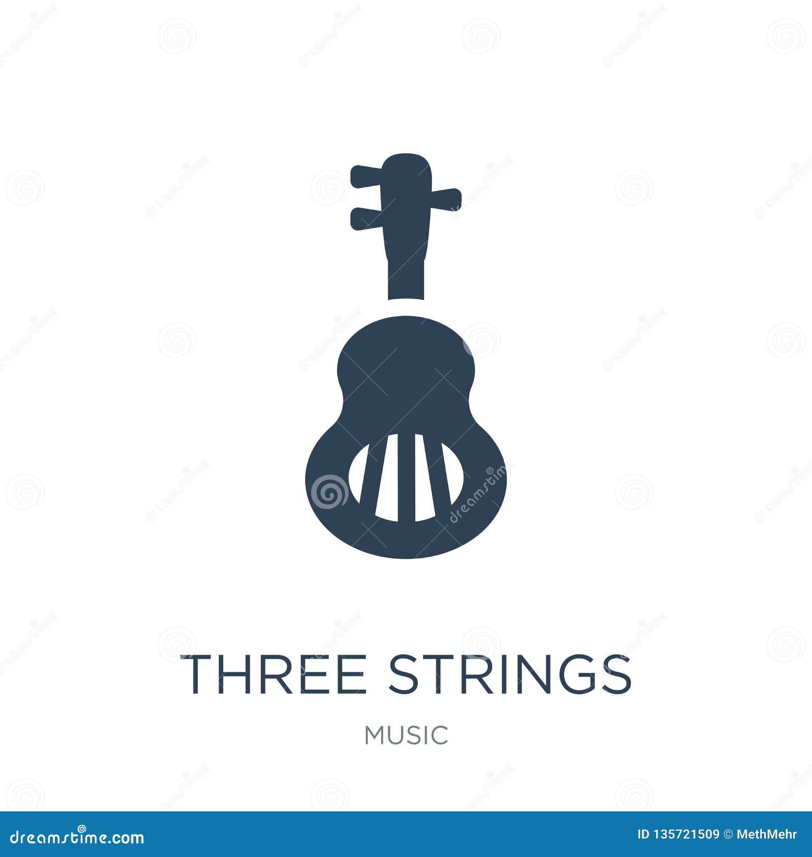 Icono de la guitarra de tres secuencias en estilo de moda del diseño icono de la guitarra de tres secuencias aislado en el fondo