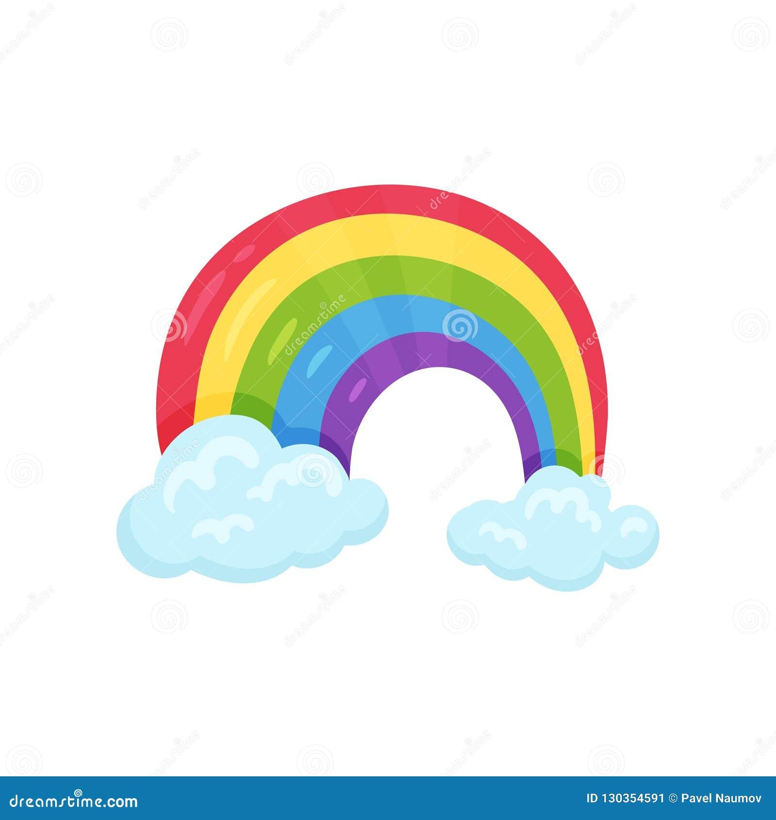 Icono de la historieta del arco iris multicolor con el elemento plano del vector de dos nubes azules para la decoración del sitio