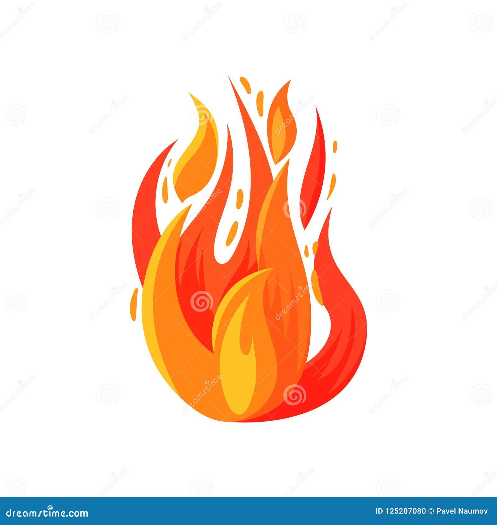 Icono de la historieta del fuego brillantemente ardiente Hoguera ardiente Llama rojo-anaranjada brillante Vector plano para el ju