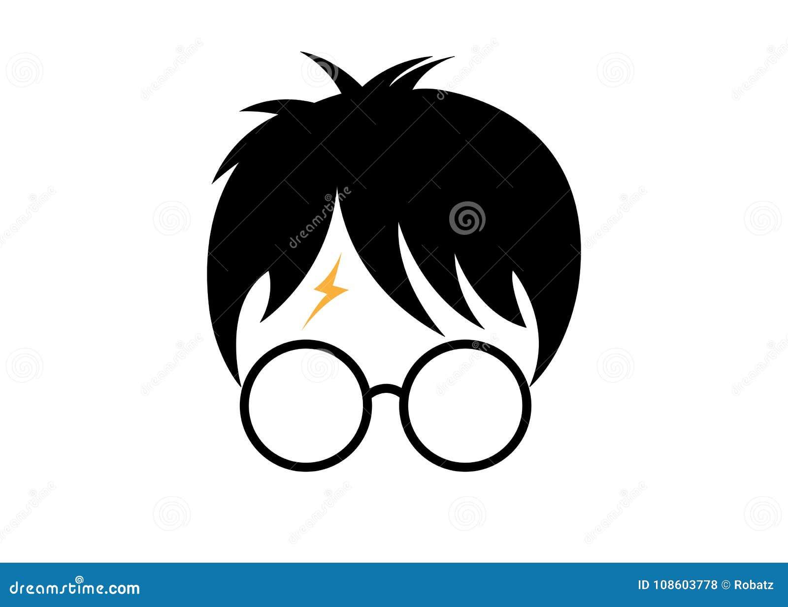Icono de la historieta de Harry Potter, vector mínimo del estilo