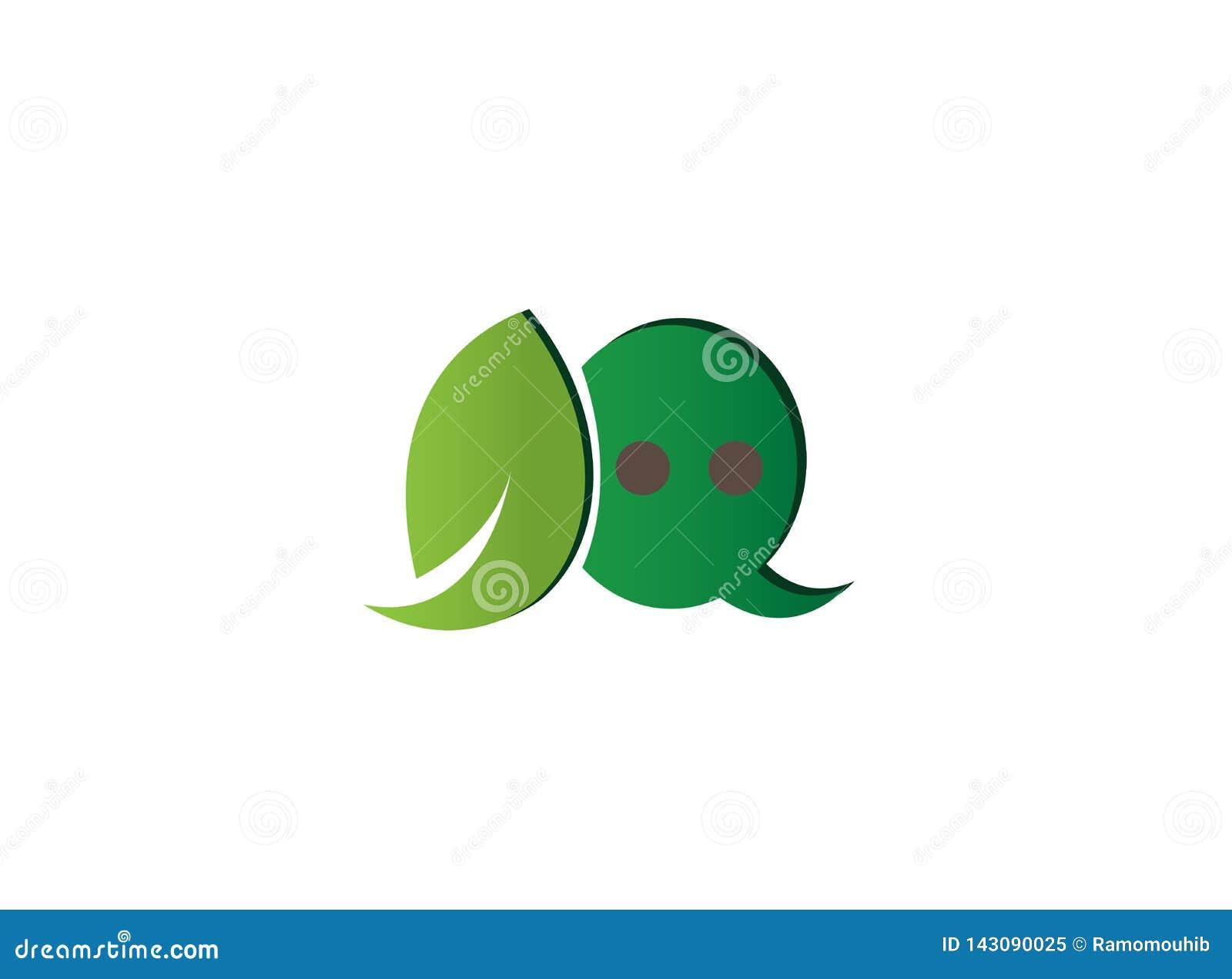 Icono de la hoja y de la charla en un diálogo ecológico para el diseño del logotipo