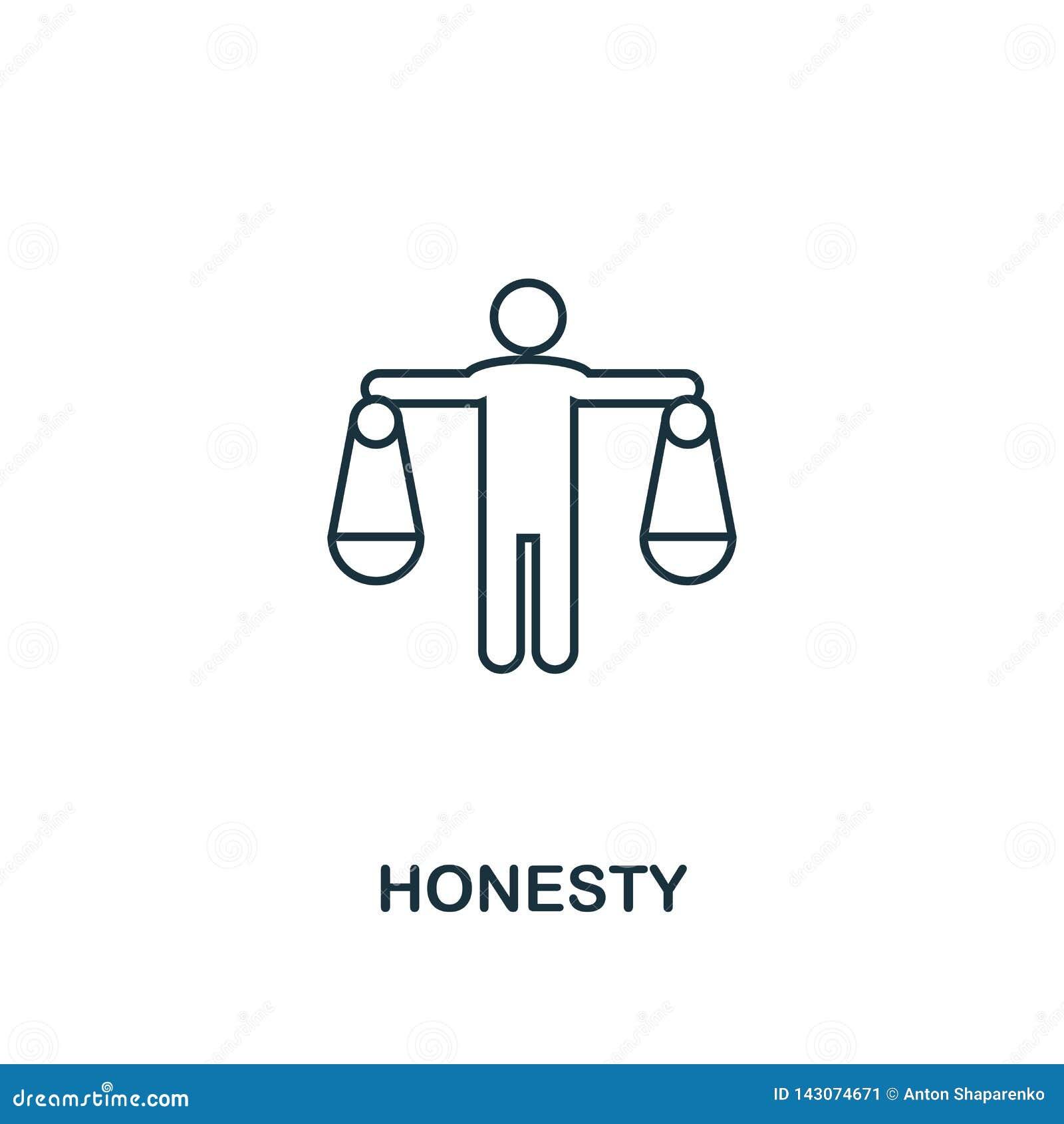 Icono de la honradez Línea fina símbolo del diseño de la colección de los iconos de la ética empresarial Icono perfecto para el d