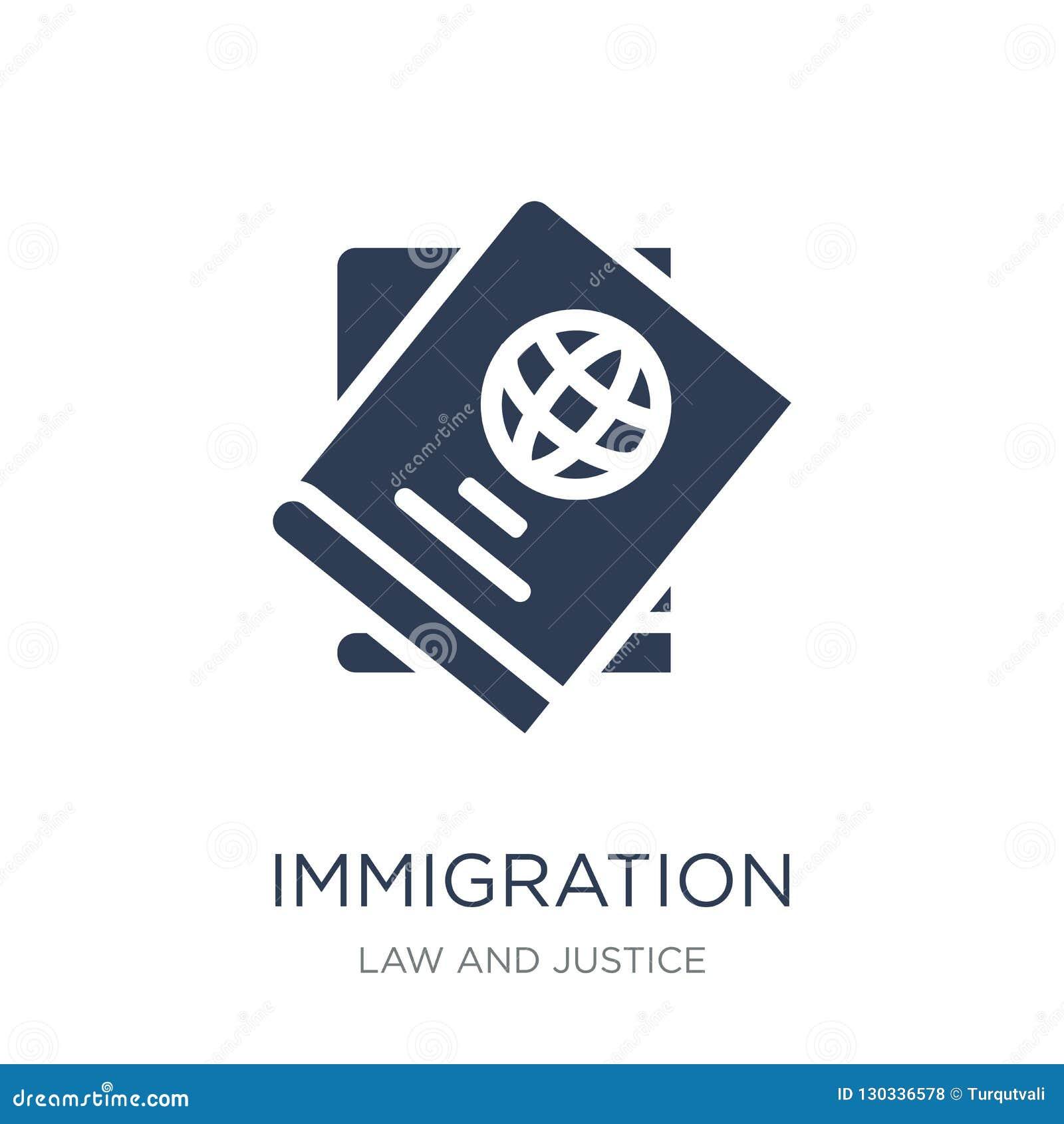 Icono de la inmigración Icono plano de moda de la inmigración del vector en b blanco