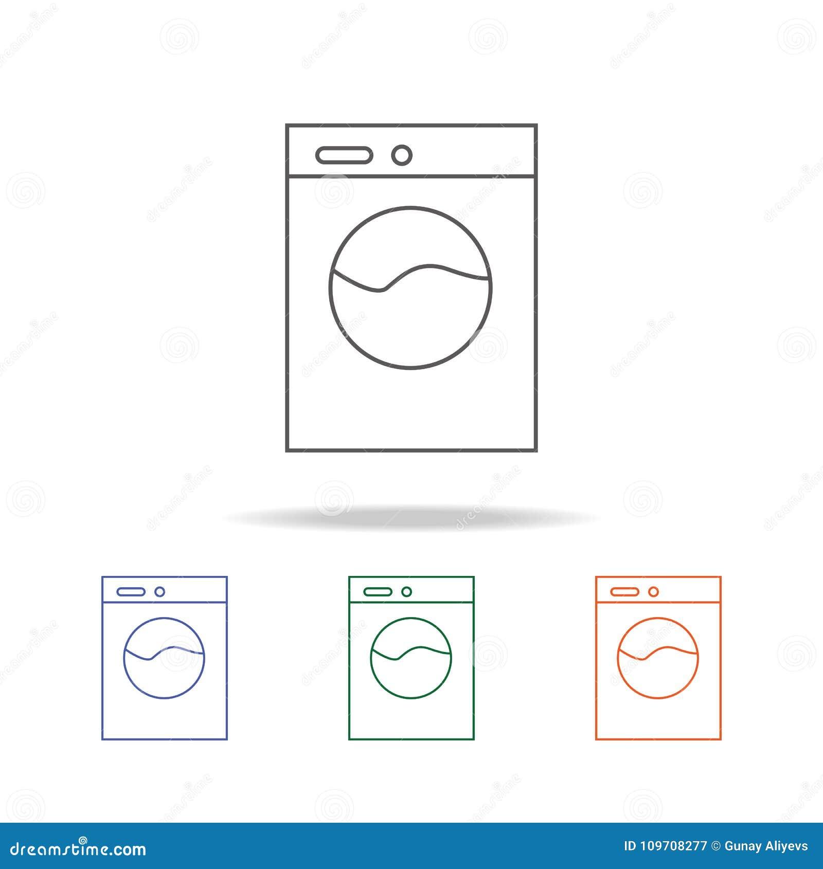 Icono De La Lavadora El Elemento Del Cuarto De Baño Equipa
