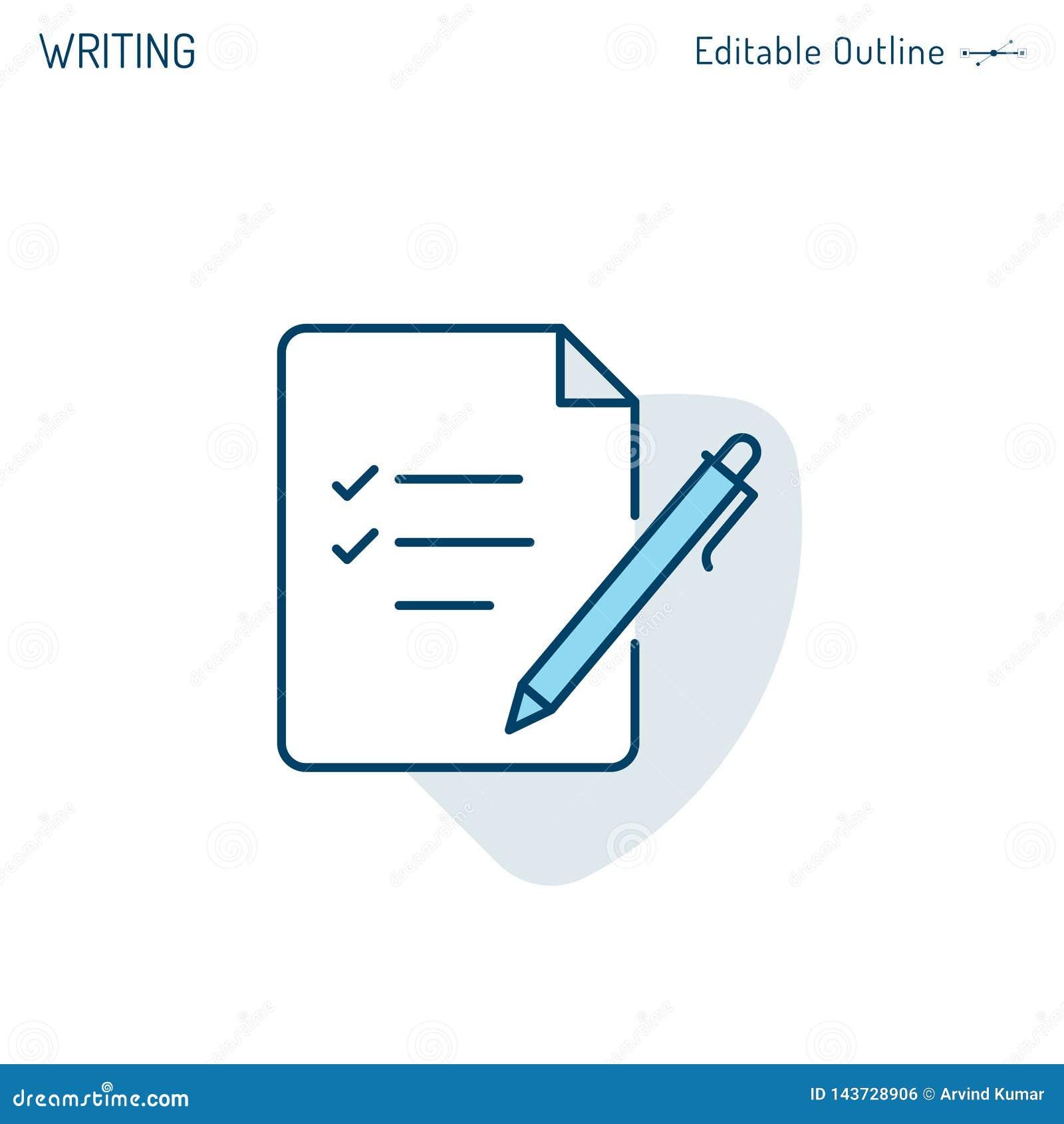 Icono de la libreta, icono de la escritura, del fichero, pluma y papel, documento de negocio de firma, lista de control, ficheros