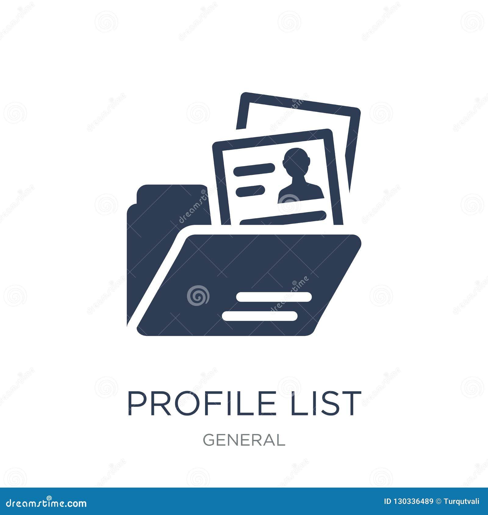 Icono de la lista del perfil Icono plano de moda de la lista del perfil del vector en blanco