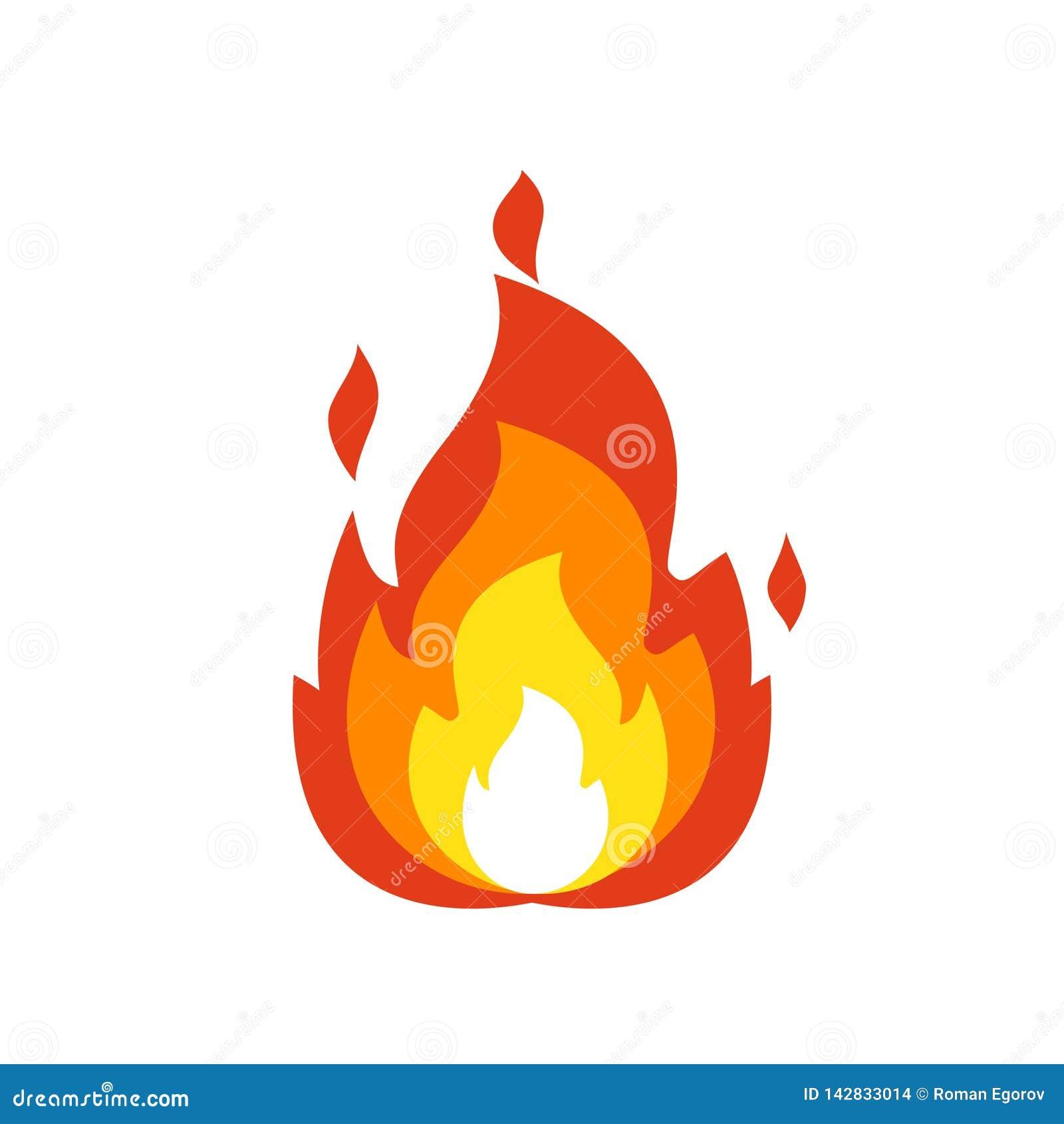 Icono de la llama del fuego Muestra aislada de la hoguera, símbolo de la llama del emoticon aislados en el emoji blanco, del fueg