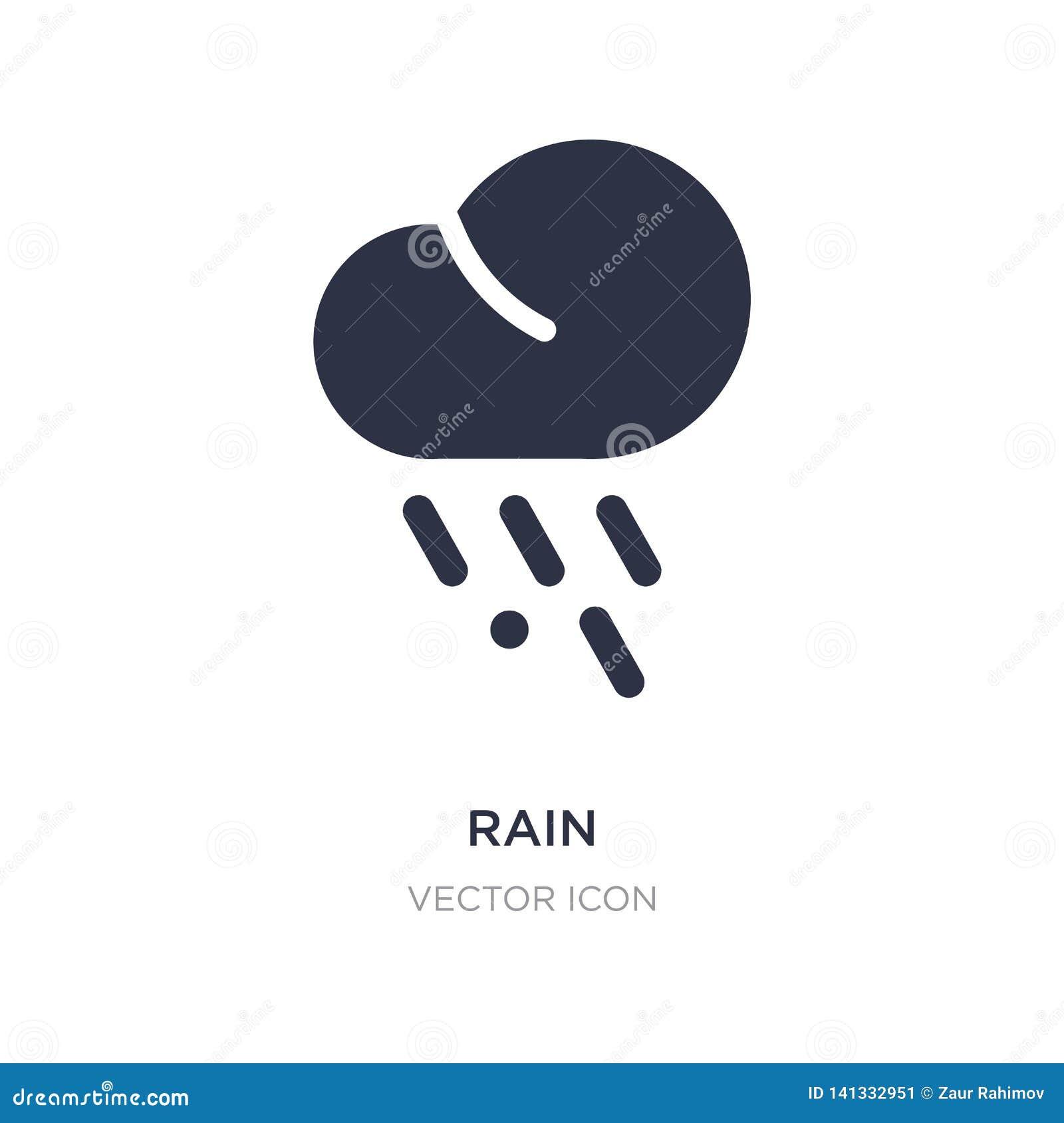 Icono de la lluvia en el fondo blanco Ejemplo simple del elemento del concepto del otoño
