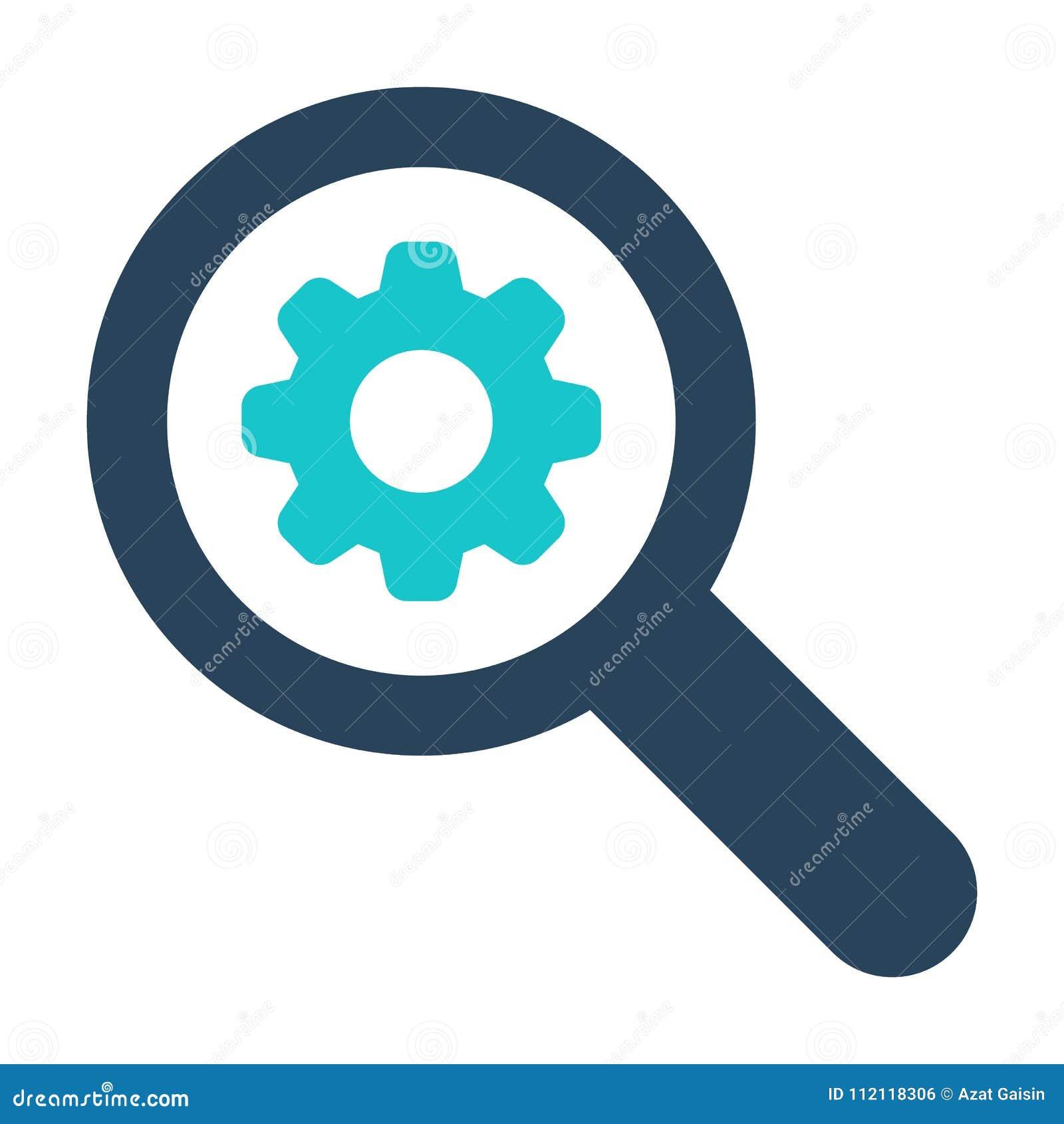 Icono de la lupa con la muestra de los ajustes El icono de la lupa y modifica, puso, maneja, procesa símbolo para requisitos part