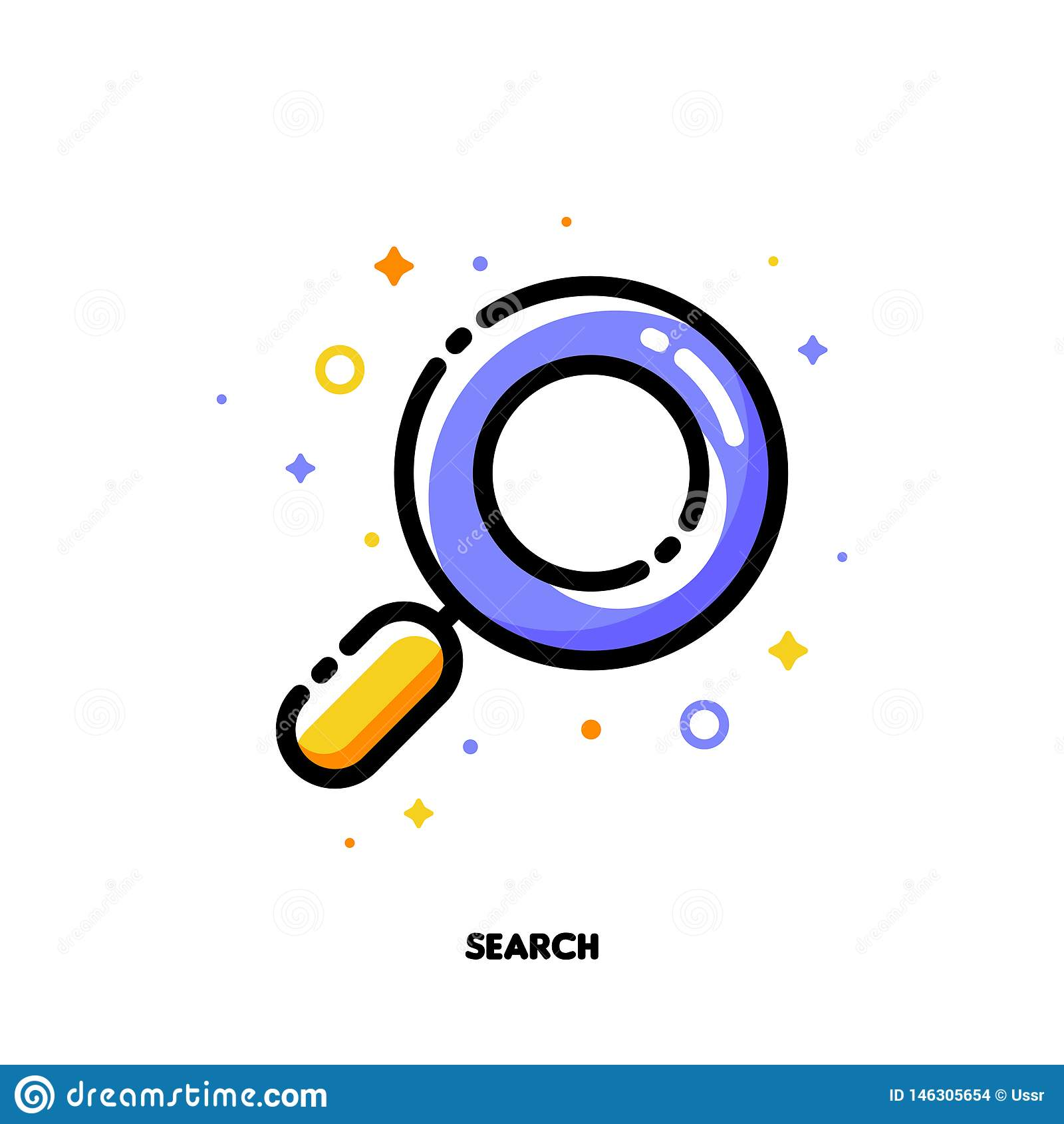 Icono de la lupa que simboliza Internet del éxito que busca el proceso de la optimización para el concepto de SEO Esquema llenado