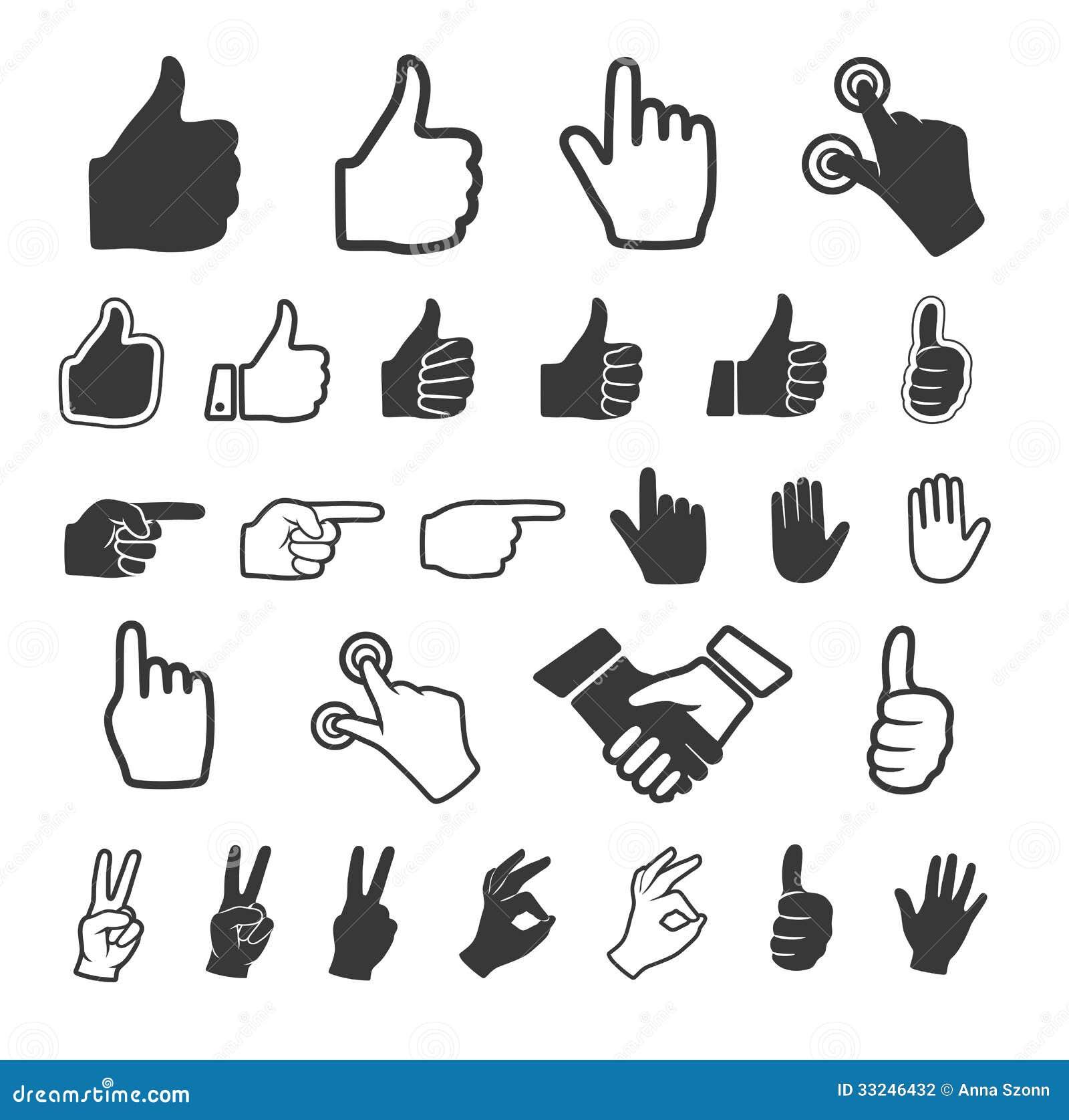 Icono de la mano. Sistema del vector.