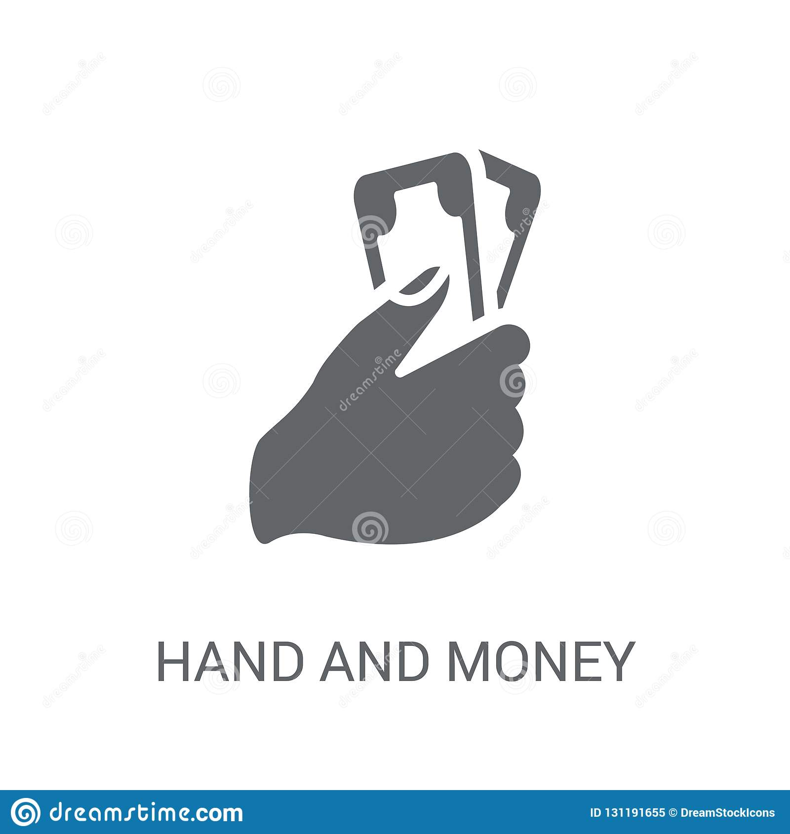 Icono de la mano y del dinero