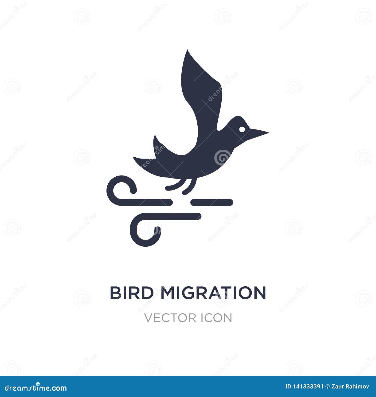 Icono de la migración de pájaro en el fondo blanco Ejemplo simple del elemento del concepto del otoño