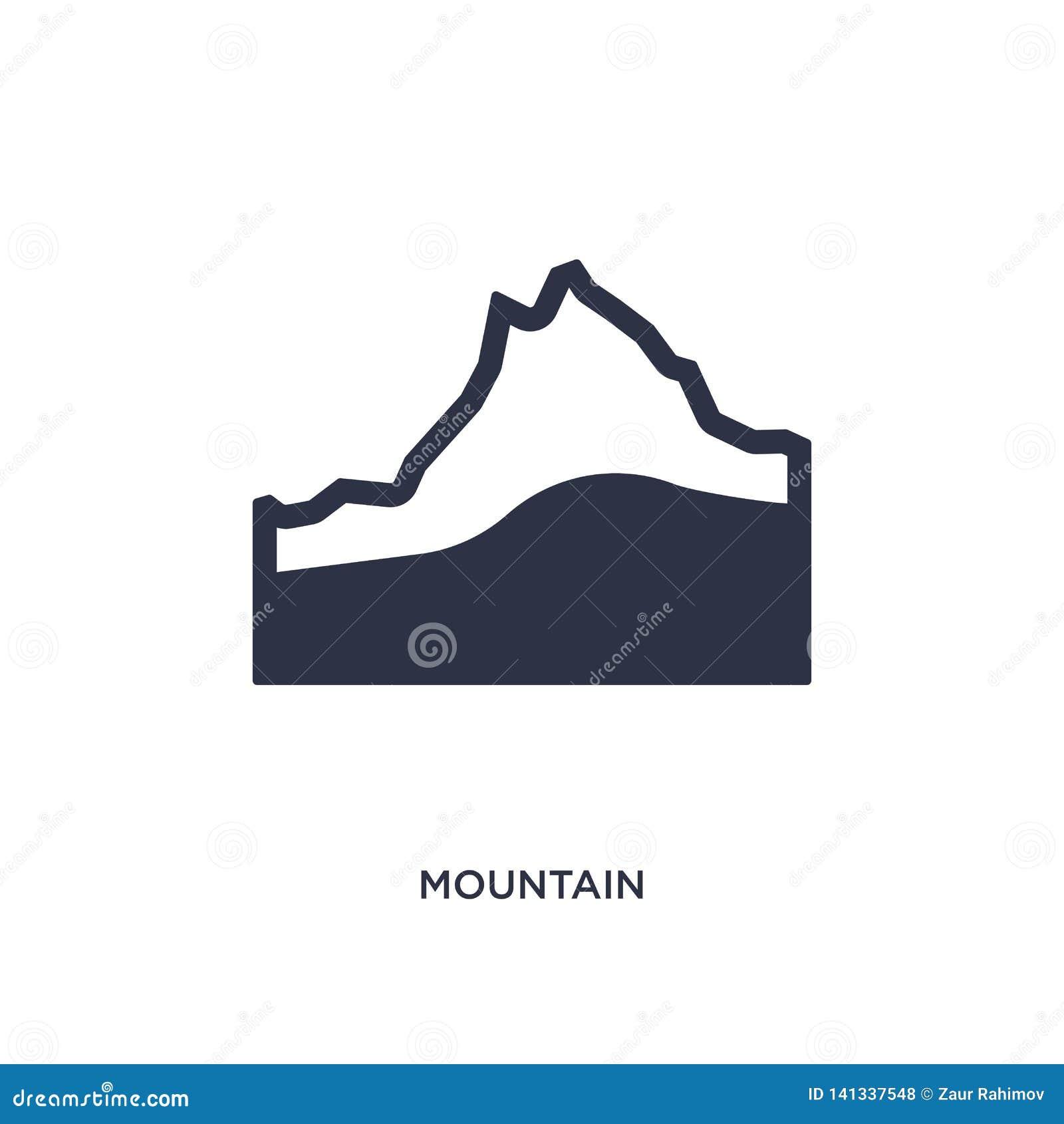 Icono de la montaña en el fondo blanco Ejemplo simple del elemento del concepto que acampa
