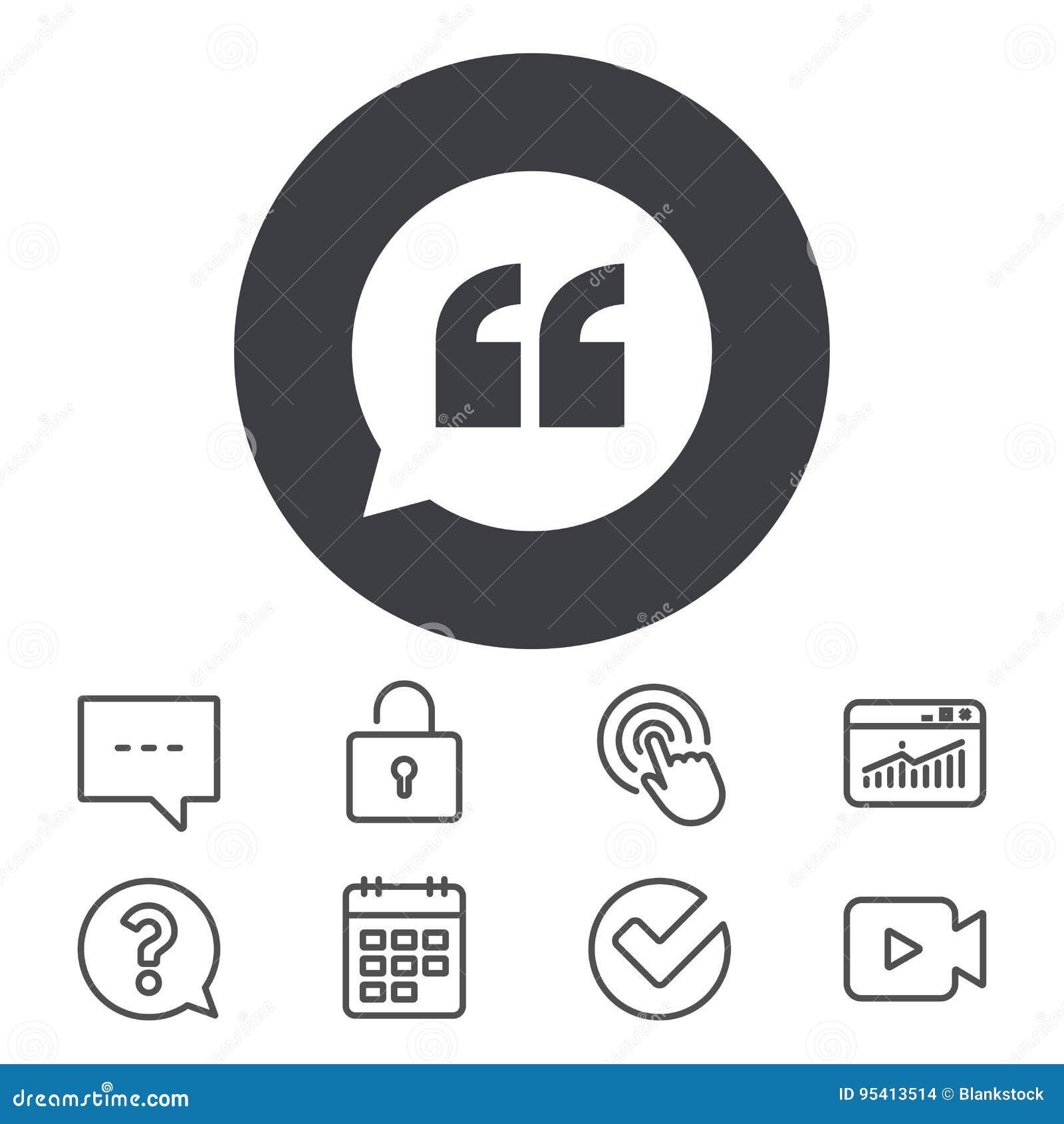 Icono de la muestra de la cita Símbolo de la marca de cita