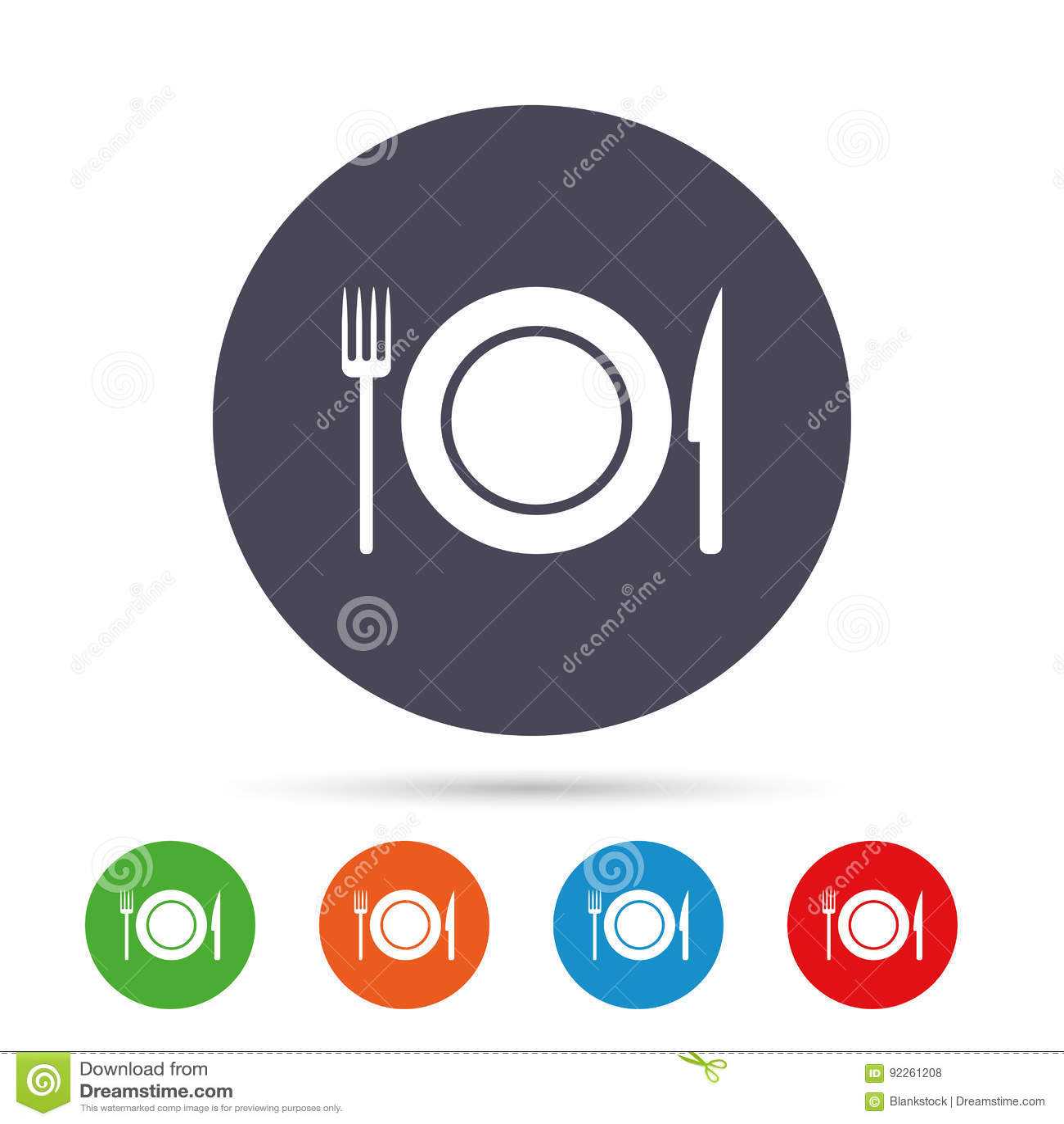 Icono de la muestra de la comida Símbolo de los cubiertos Cuchillo y bifurcación
