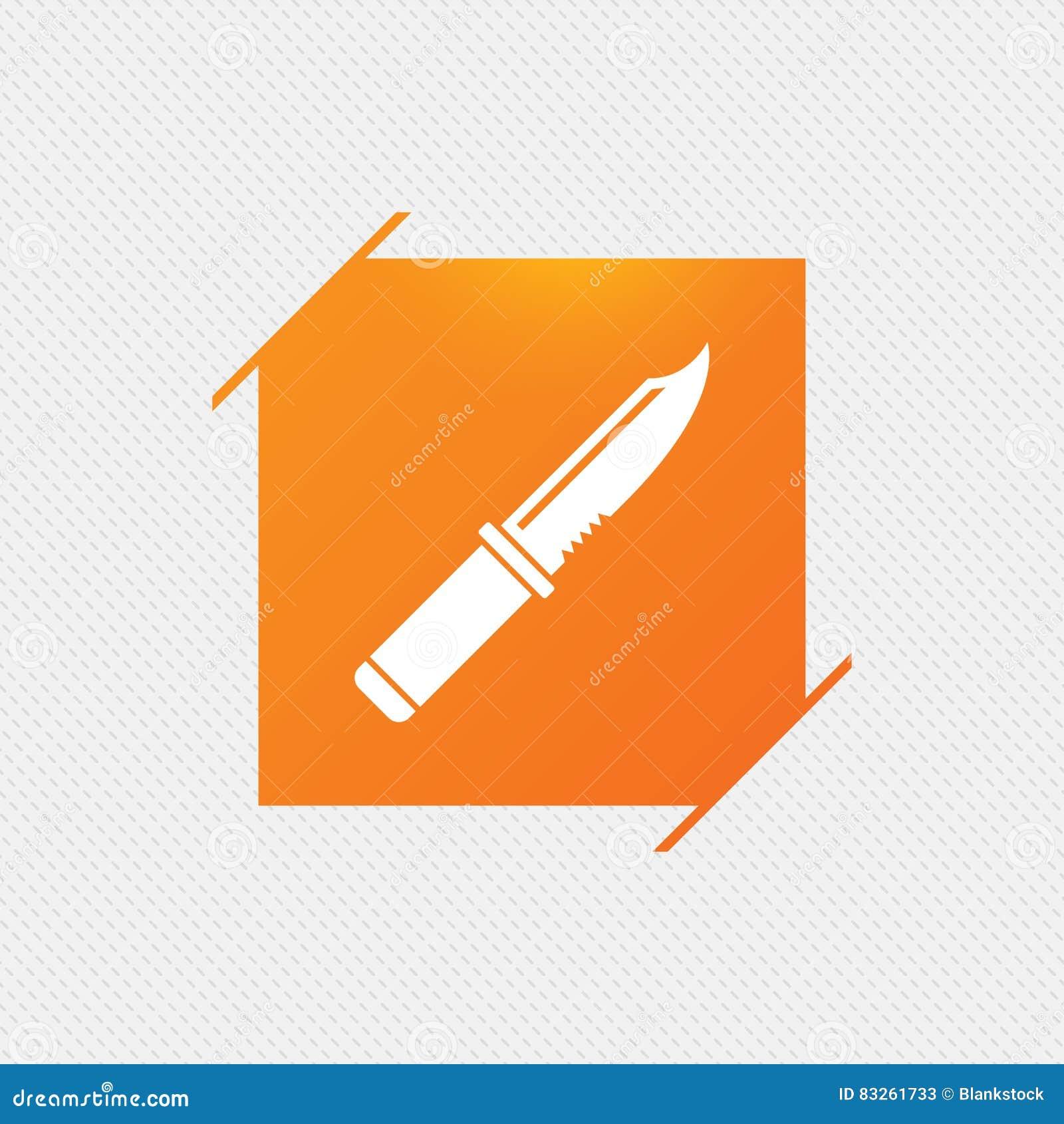 Icono de la muestra del cuchillo Símbolo afilado de las armas