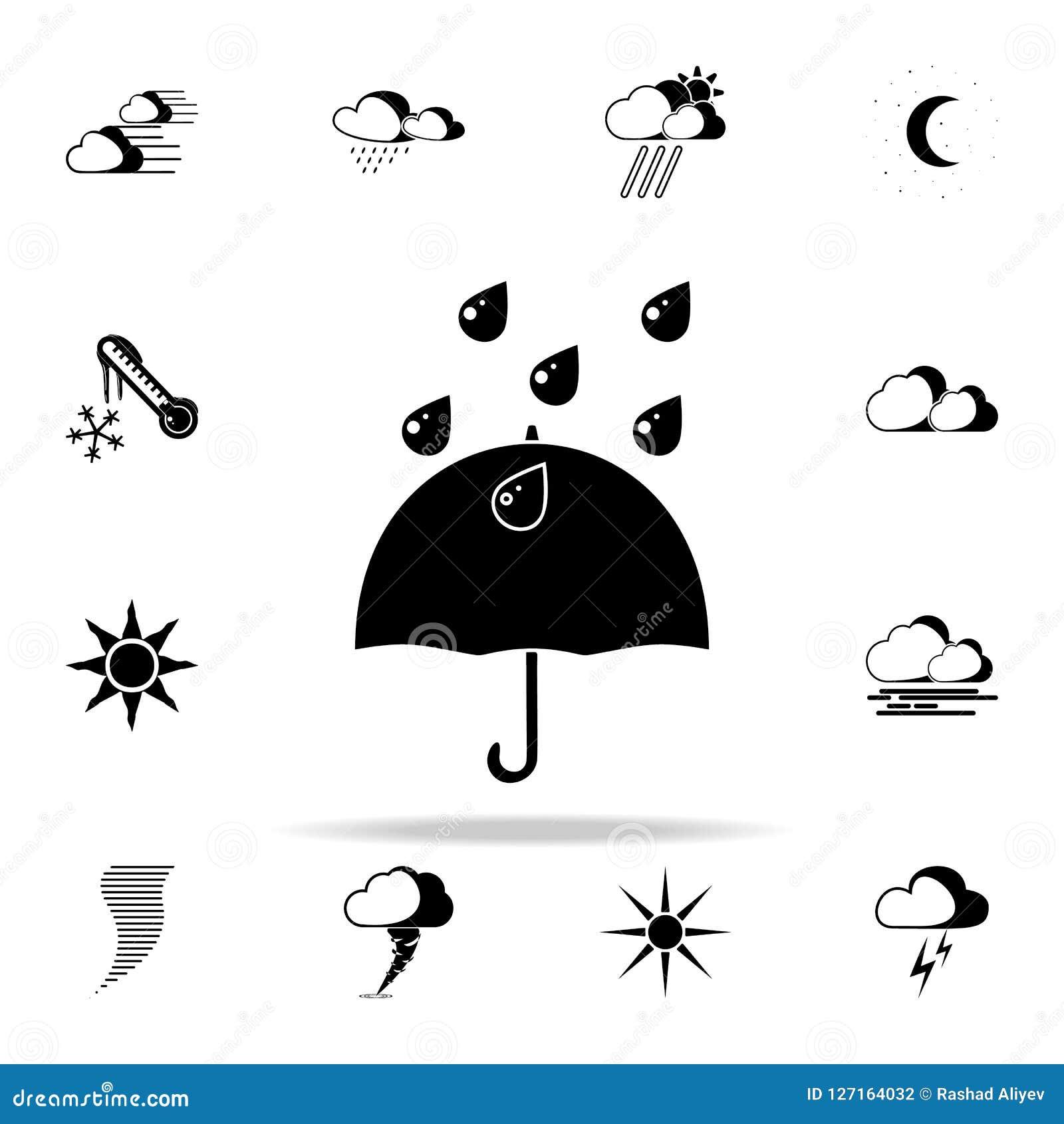 Icono de la muestra del paraguas y de la lluvia Resista al sistema universal de los iconos para el web y el móvil