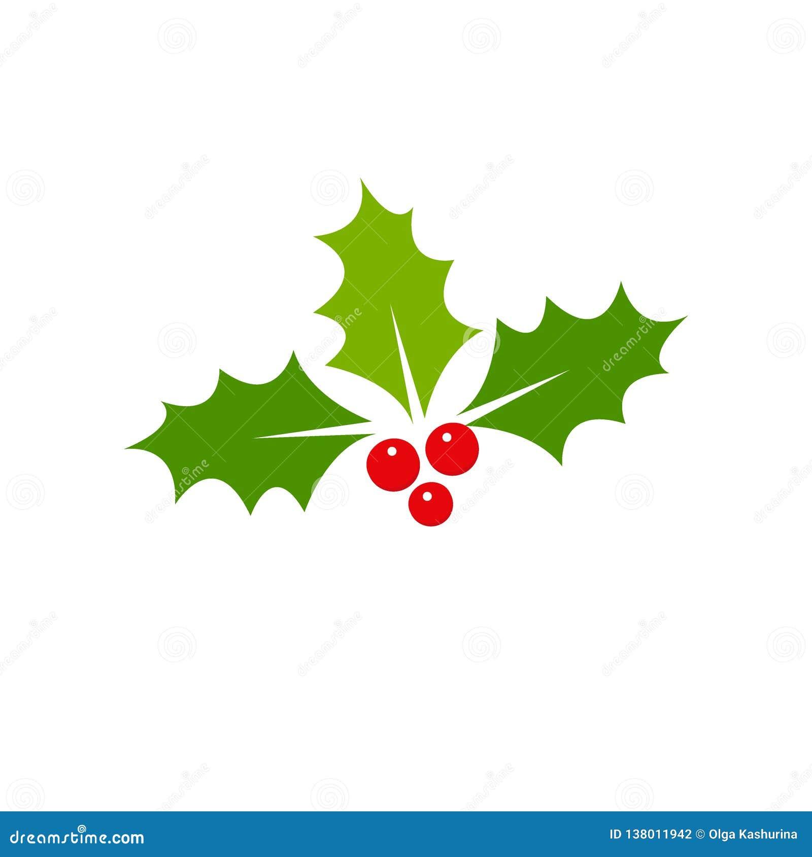Icono de la Navidad de la baya del acebo Elemento para el diseño ejemplo del vector - vector