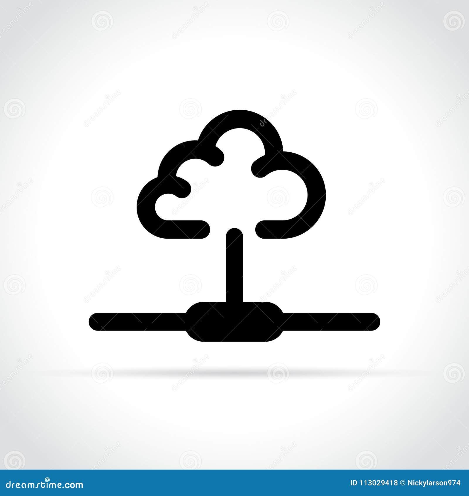 Icono de la nube en el fondo blanco