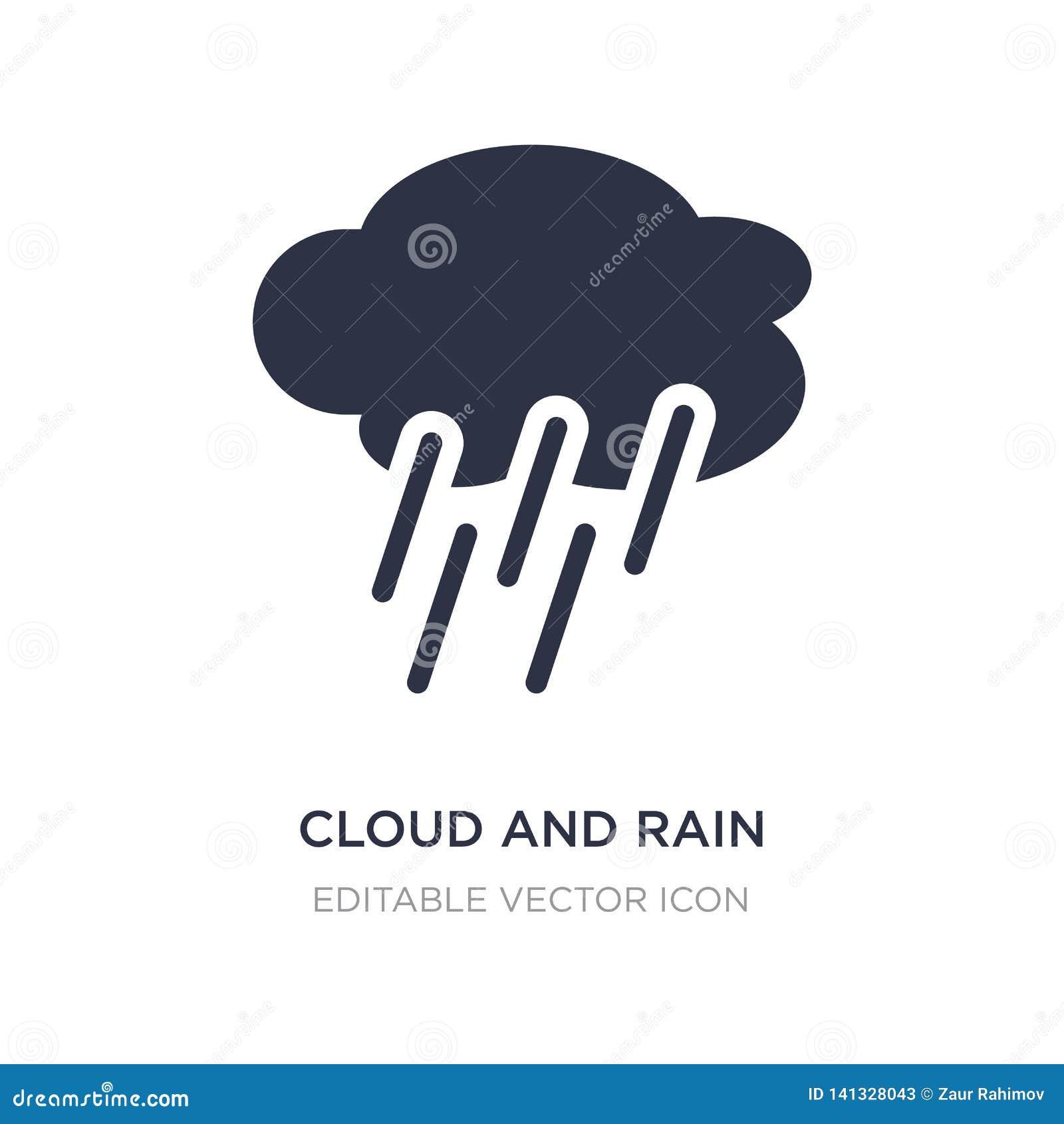 Icono de la nube y de la lluvia en el fondo blanco Ejemplo simple del elemento del concepto del tiempo