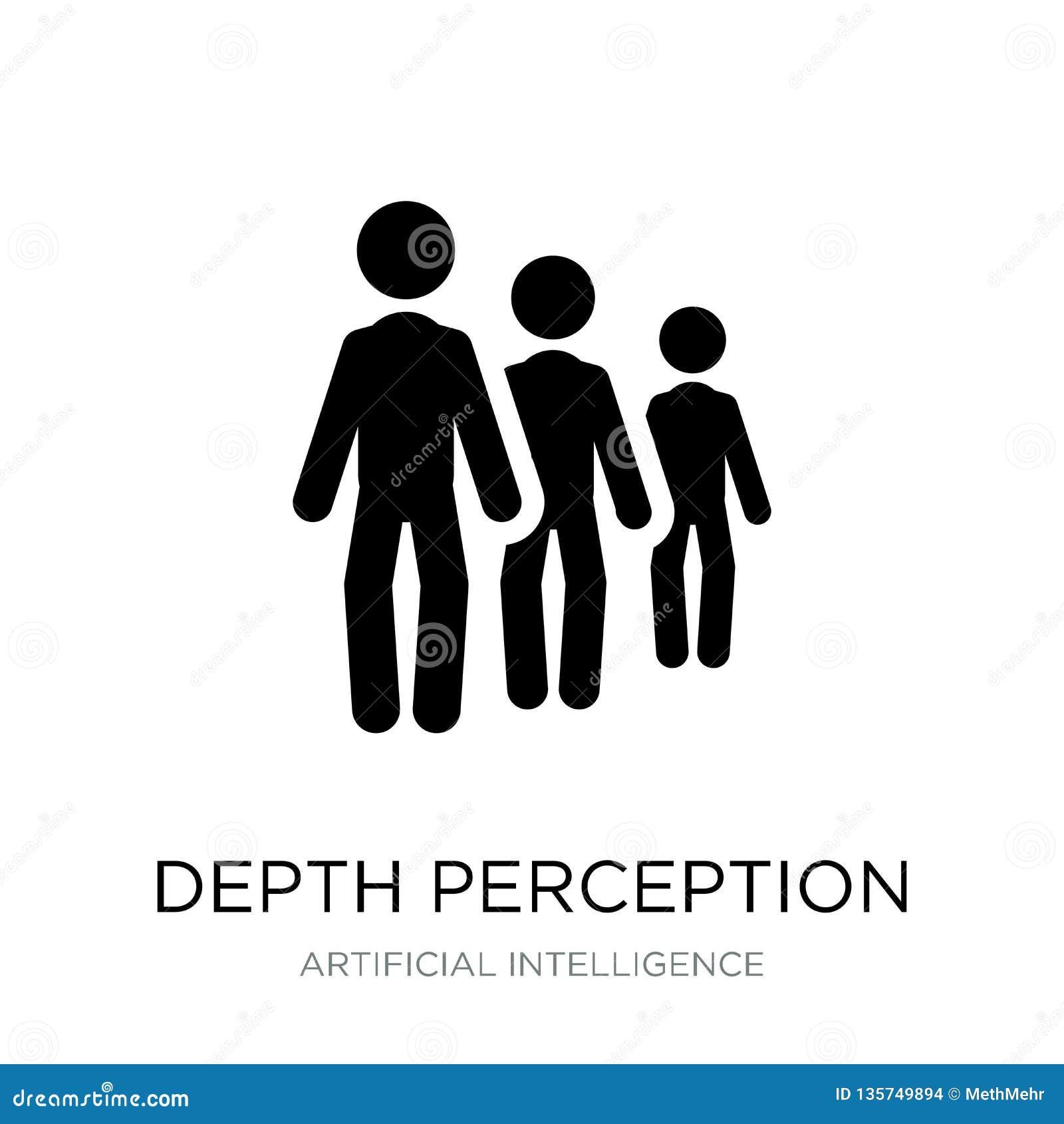Icono de la opinión de profundidad en estilo de moda del diseño icono de la opinión de profundidad aislado en el fondo blanco ico