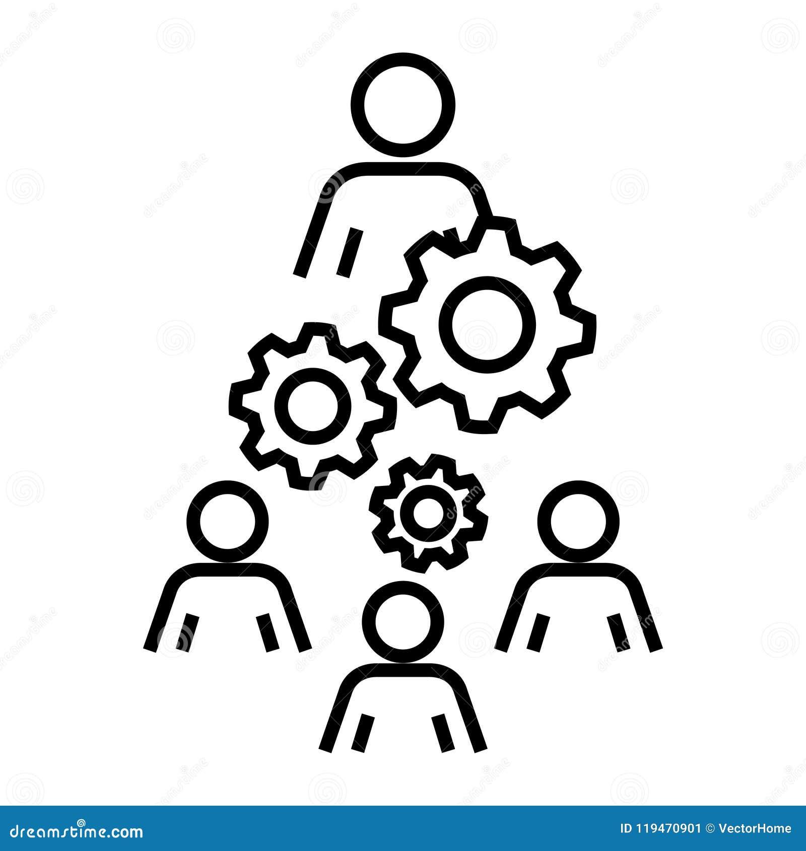 Icono de la organización de la mano de obra, ejemplo del vector